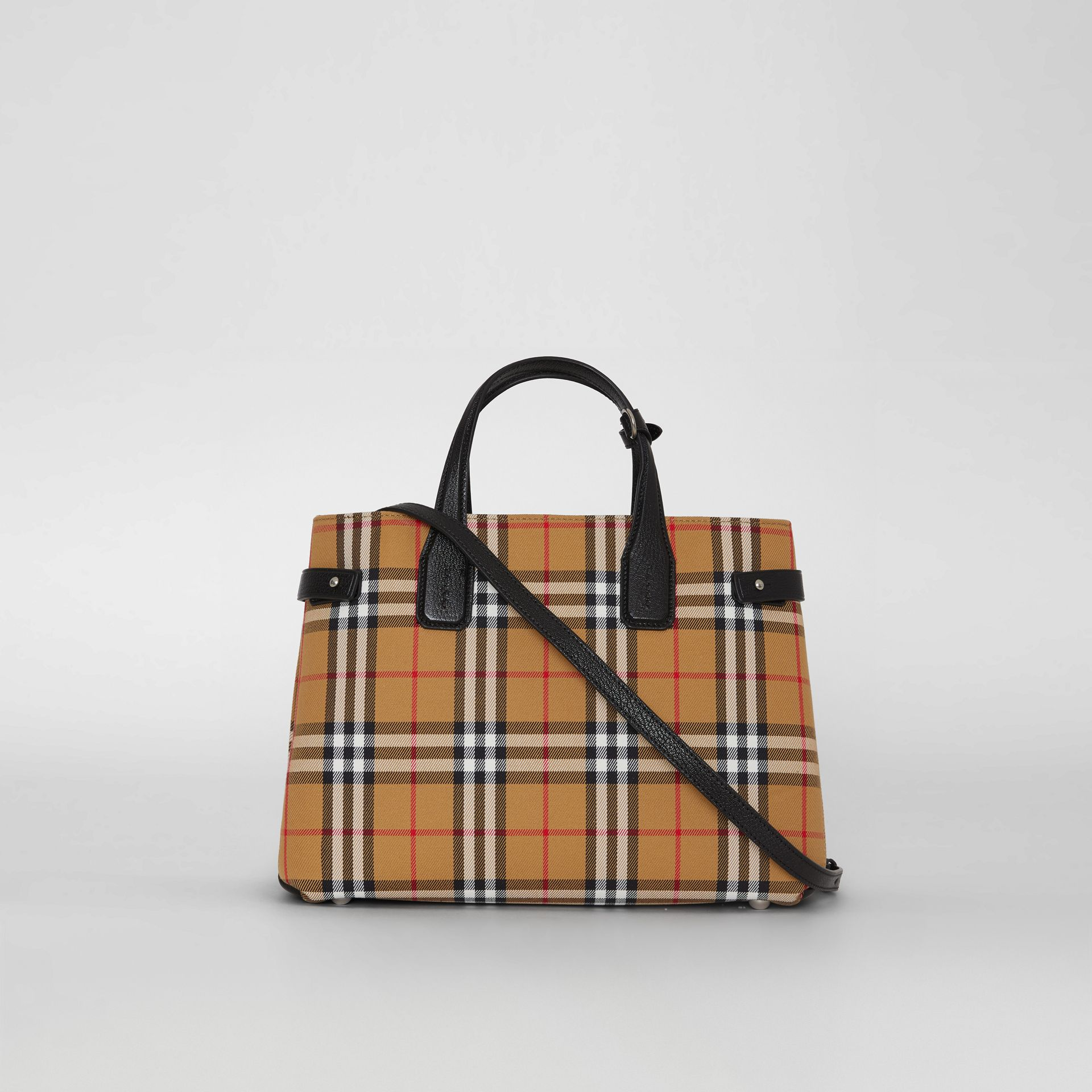 The Banner media in pelle con motivo Vintage check (Nero) - Donna | Burberry - immagine della galleria 7