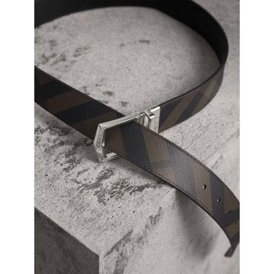 Burberry - Ceinture réversible en tissu London check et cuir - 4