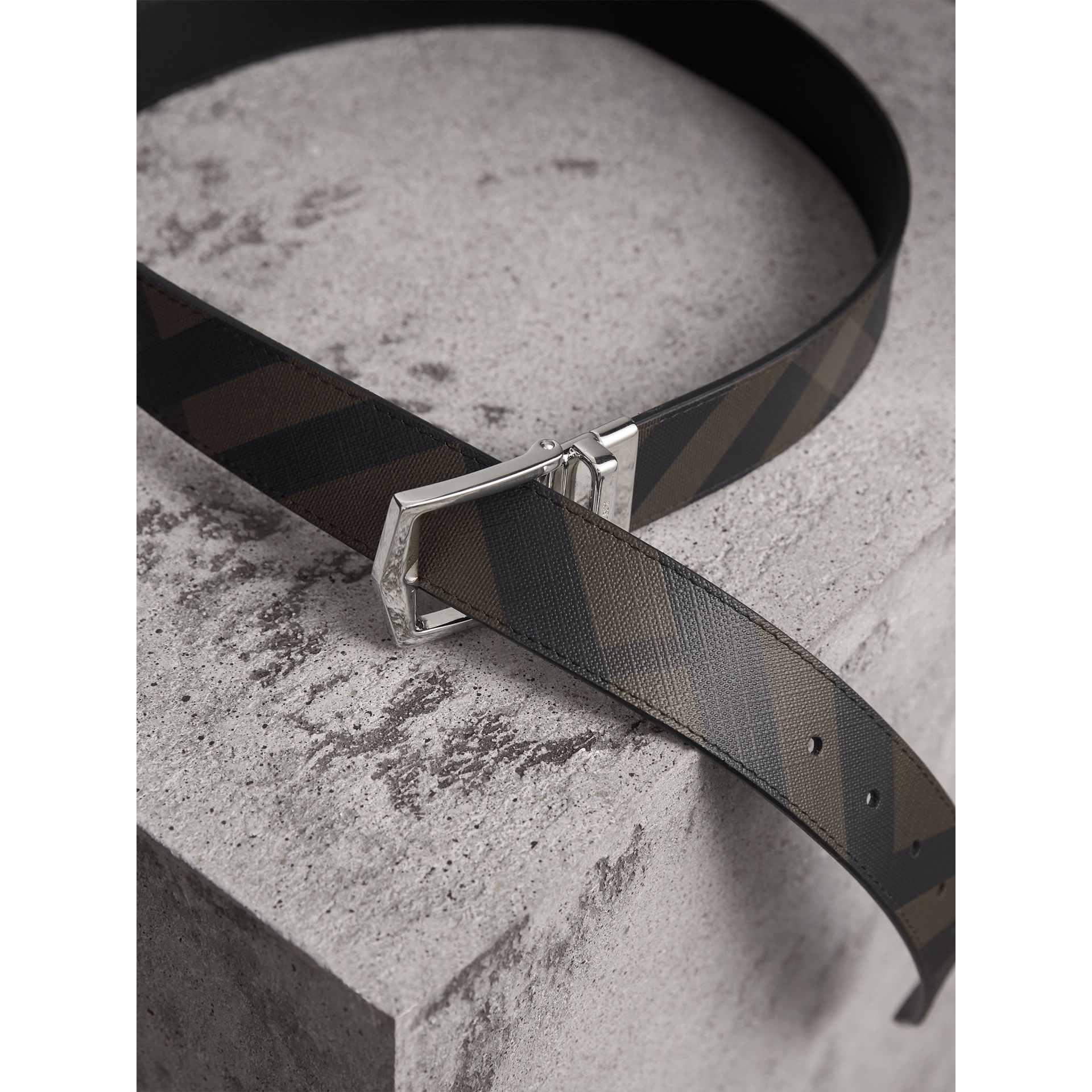 Reversible London Check and Leather Belt in Chocolate/black - Men | Burberry United States - gallery image 3