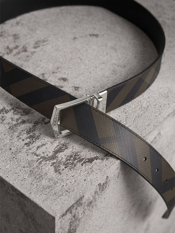 Reversible London Check and Leather Belt in Chocolate/black - Men | Burberry Singapore - cell image 3