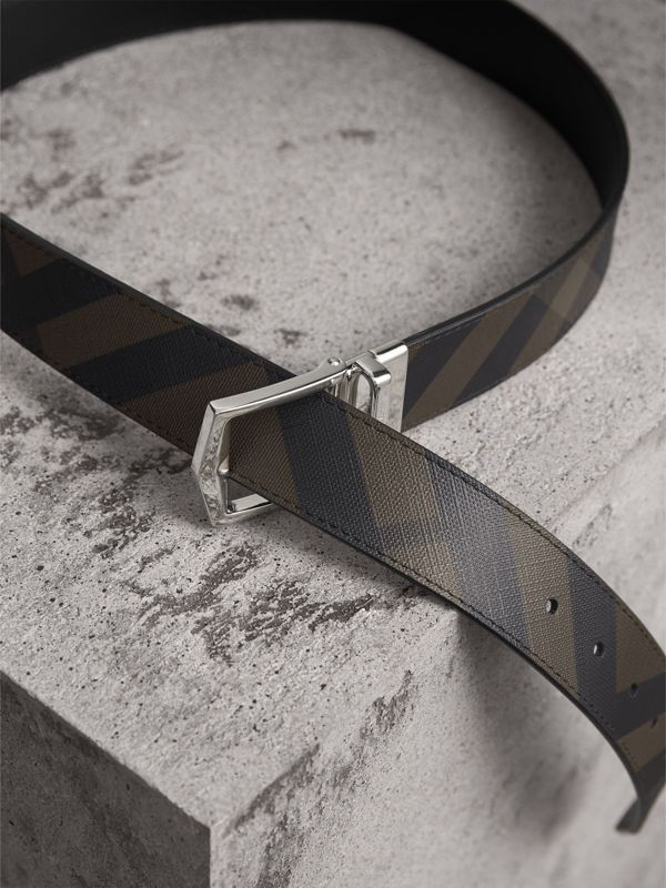 Reversible London Check and Leather Belt in Chocolate/black - Men | Burberry - cell image 3