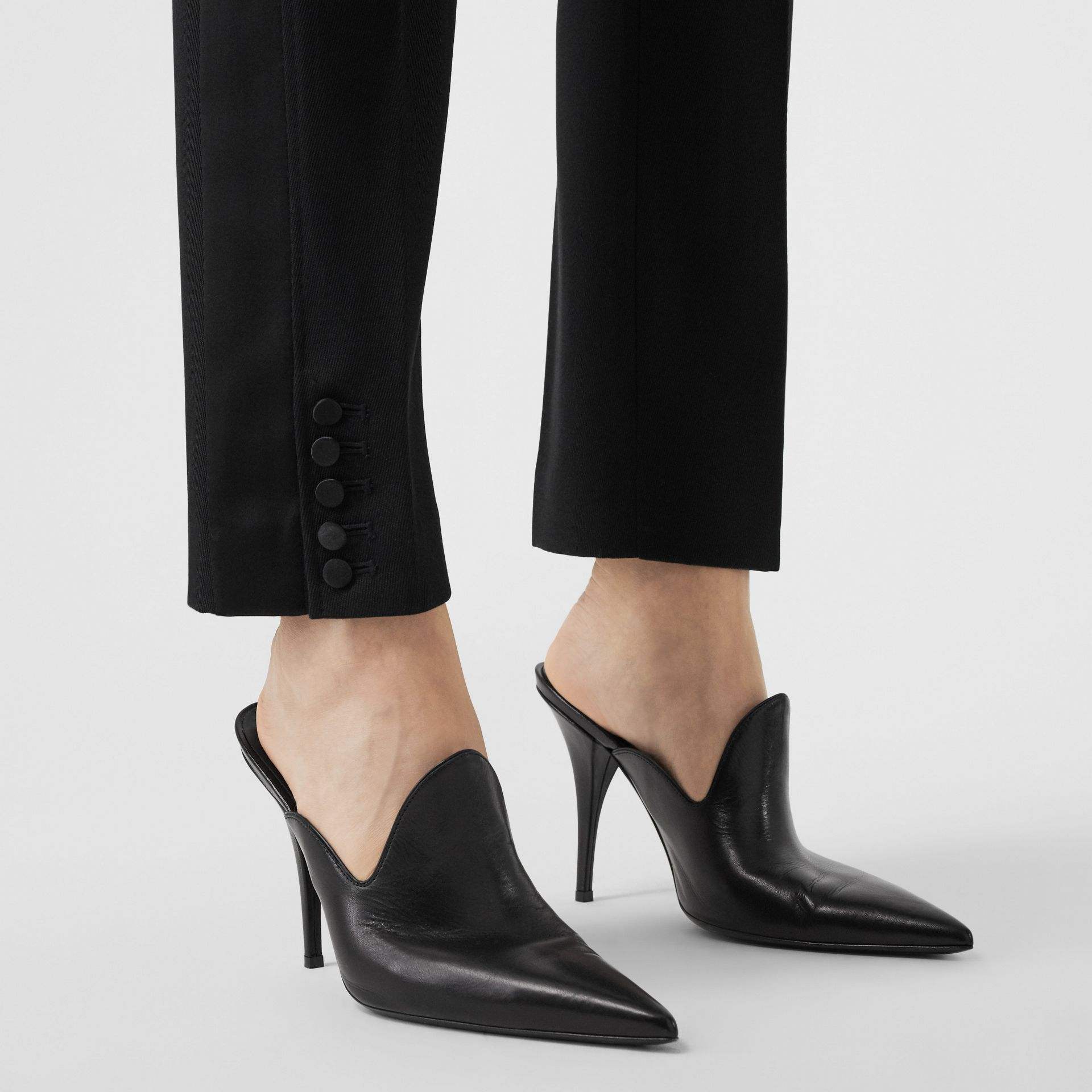 Satin Stripe Wool Tailored Trousers in Black - Women | Burberry United Kingdom - gallery image 1