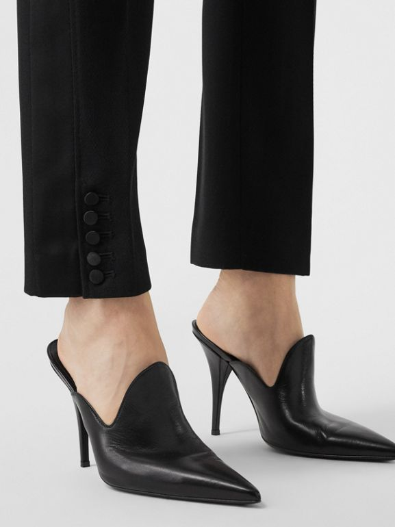Satin Stripe Wool Tailored Trousers in Black - Women | Burberry United Kingdom - cell image 1