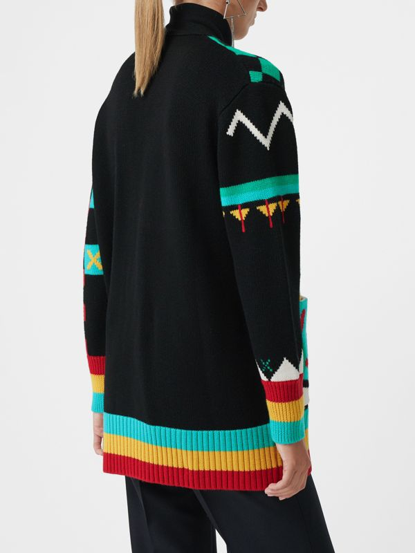 Graphic Intarsia Merino Wool Cotton Cardigan in Multicolour - Women | Burberry Singapore - cell image 2