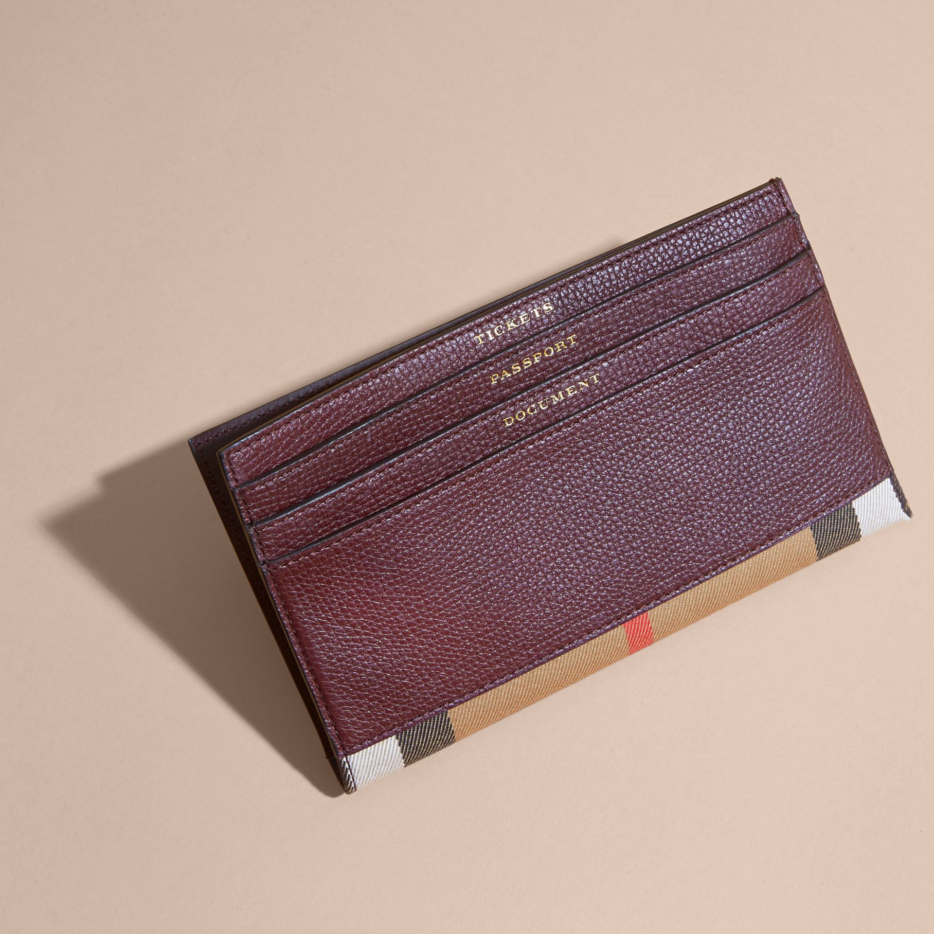 House Check and Grainy Leather Travel Wallet in Wine - gallery image 4
