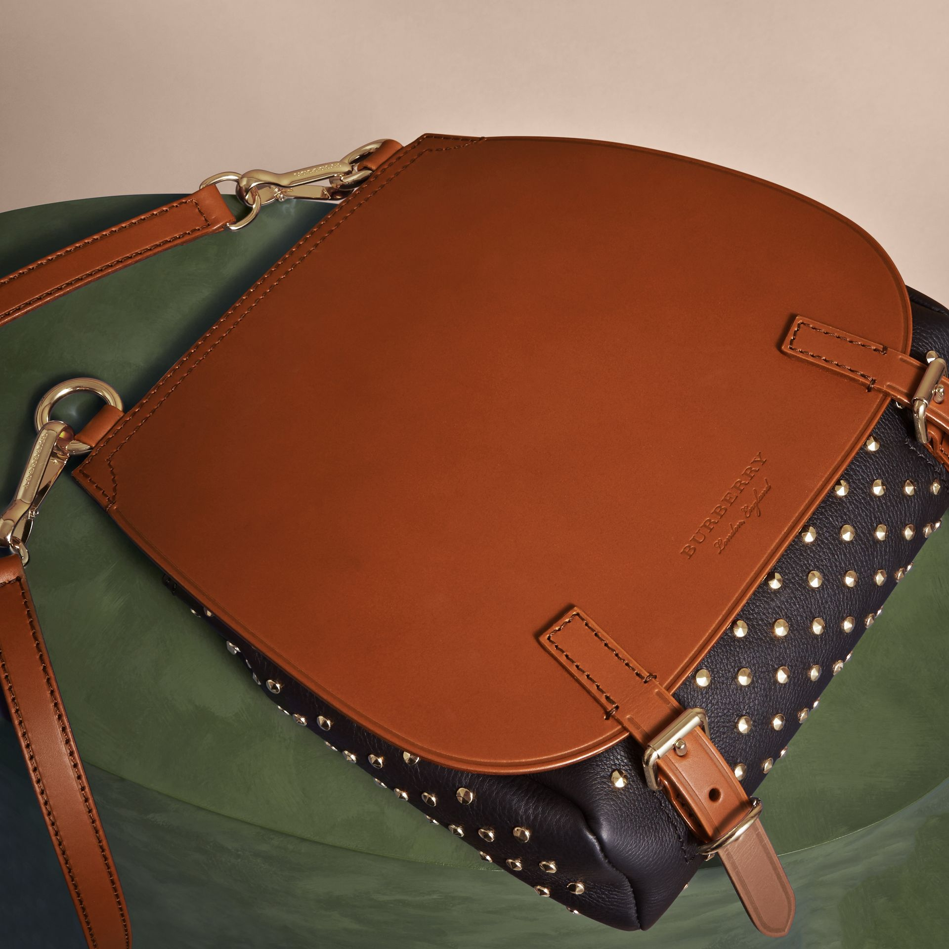 Tan The Small Bridle Bag in Riveted Leather - gallery image 7