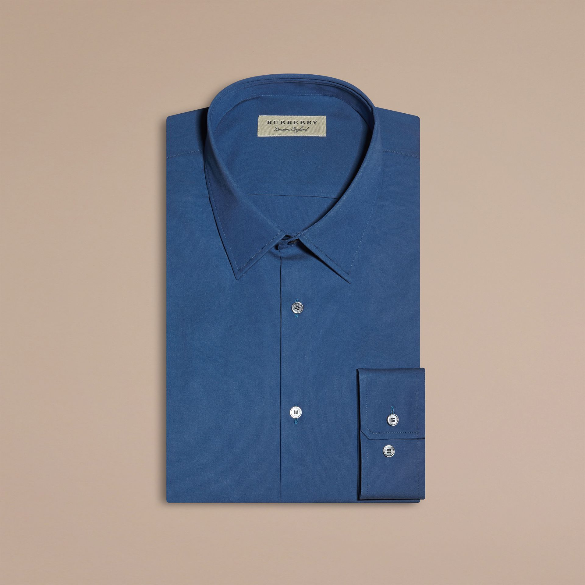 Indigo Slim Fit Stretch Cotton Blend Shirt Indigo - gallery image 4