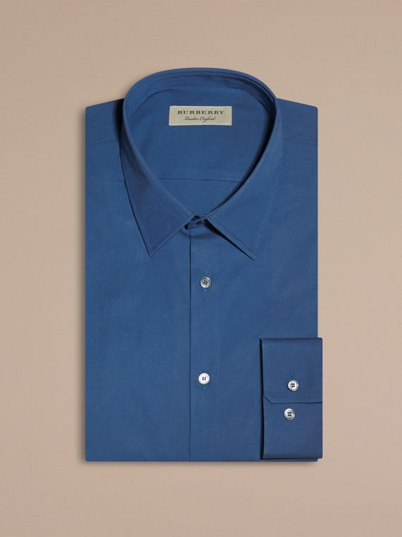 Slim Fit Stretch Cotton Blend Shirt Indigo