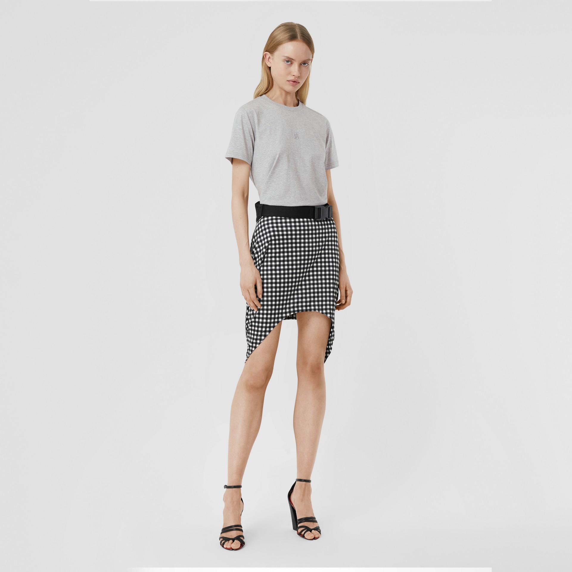 花押字圖案棉質 T 恤 (淡混合灰) - 女款 | Burberry - 圖庫照片 0