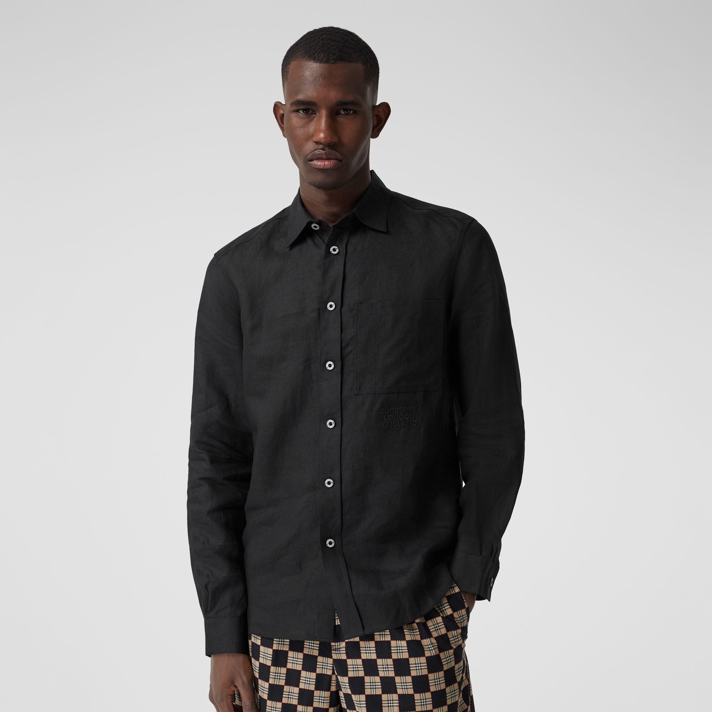 Embroidered Logo Linen Shirt in Black - Men | Burberry Hong Kong S.A.R. - 1