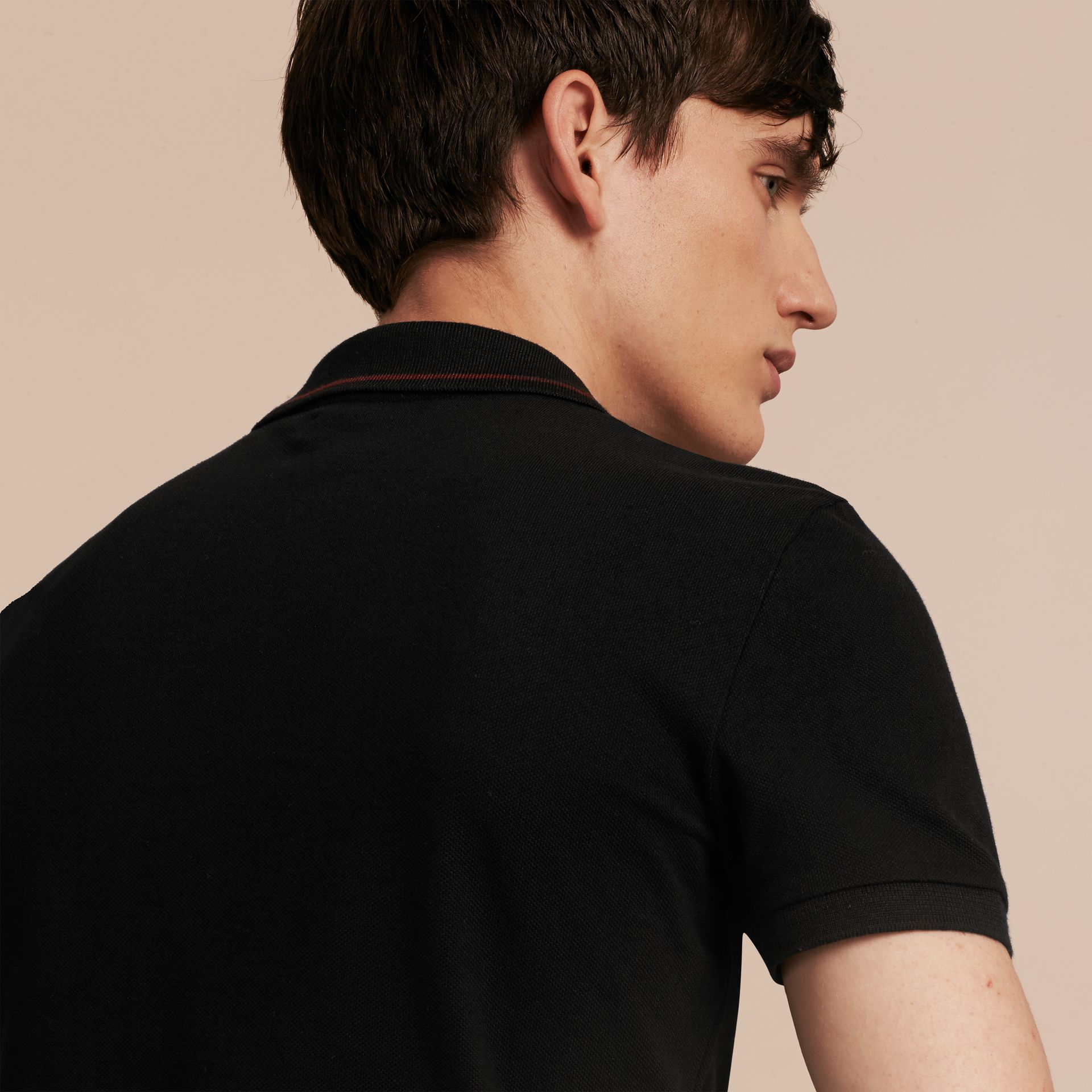 Black/mahogany red Contrast Trim Cotton Piqué Polo Shirt Black/mahogany Red - gallery image 5
