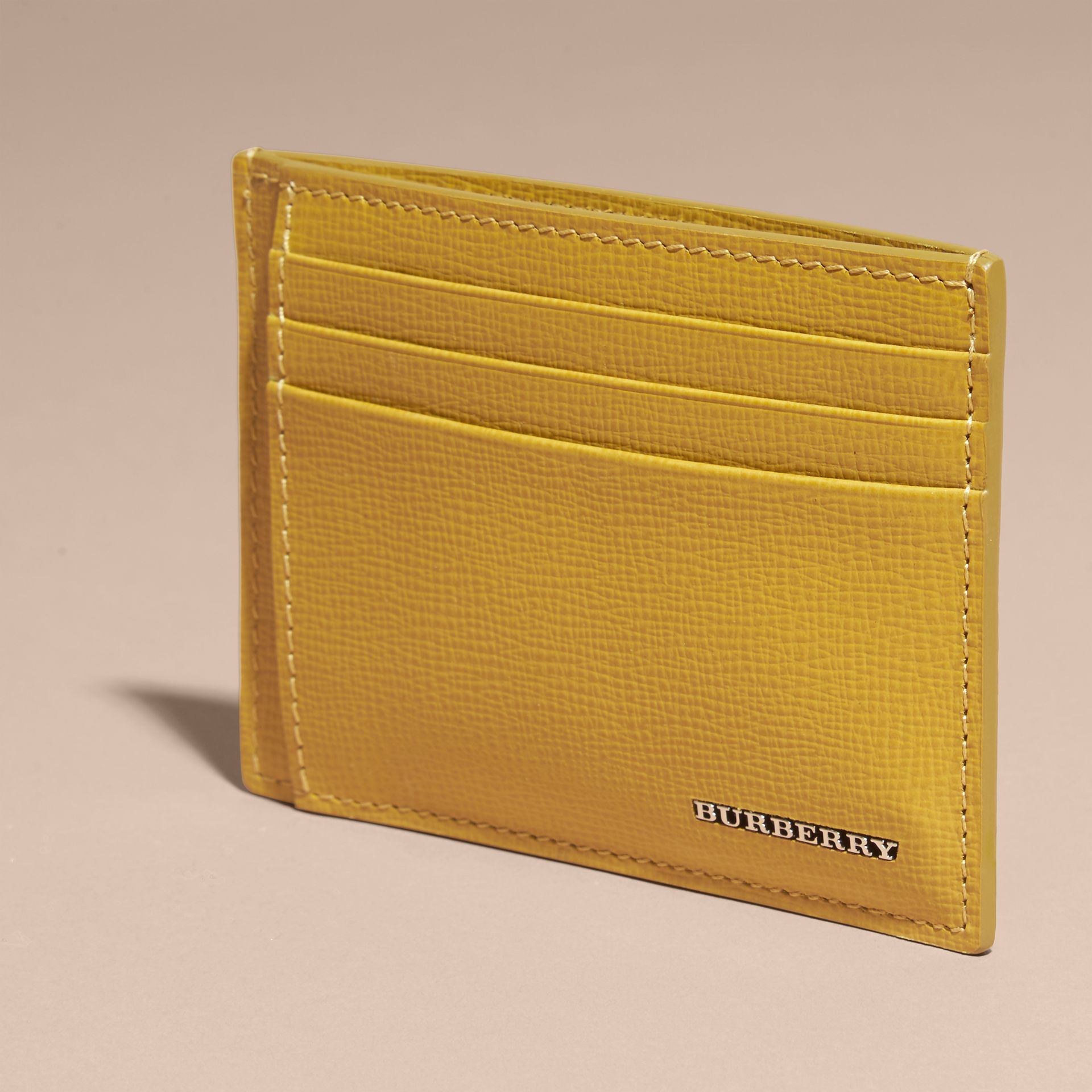 London Leather Money Clip Card Case Larch Yellow - gallery image 3