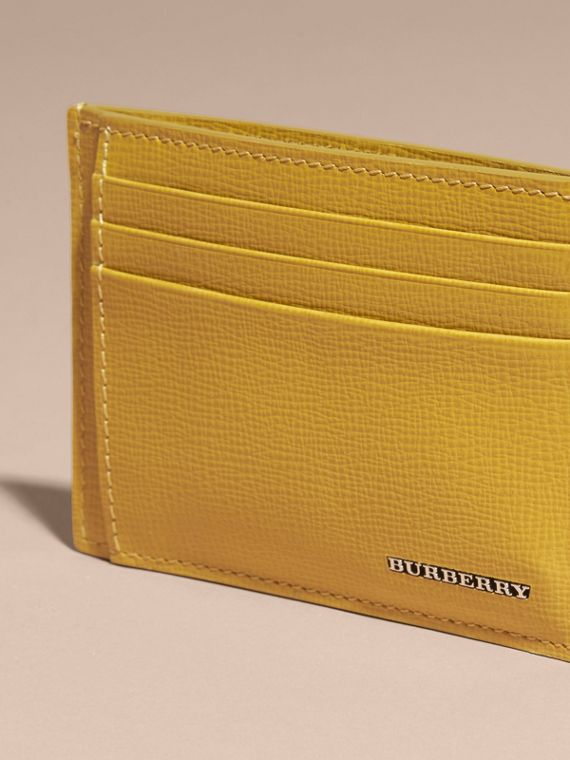 London Leather Money Clip Card Case Larch Yellow - cell image 2