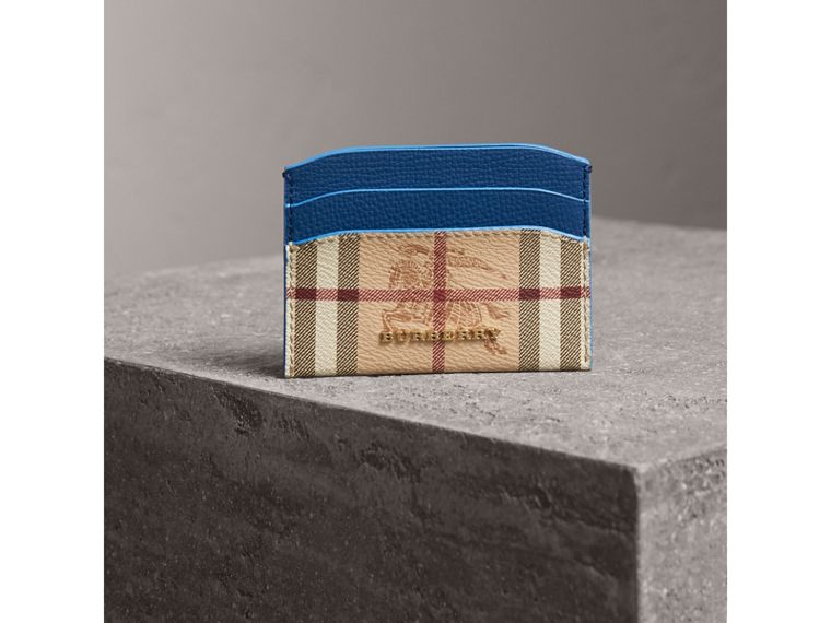Haymarket Check and Leather Card Case in Mineral Blue - Women | Burberry - cell image 4