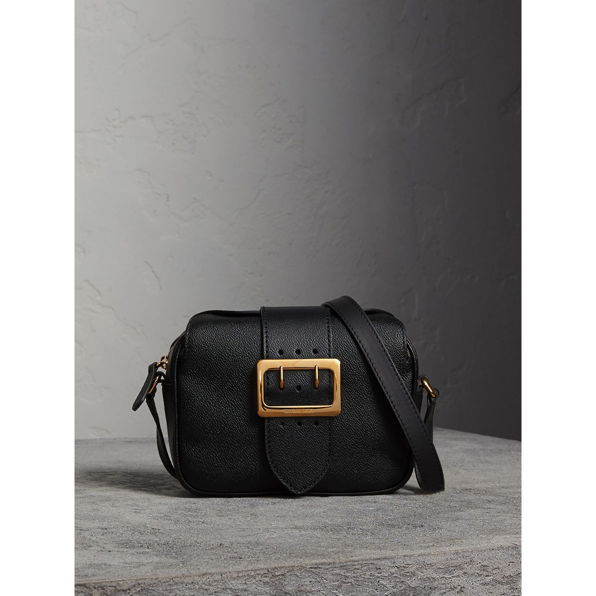 The Small Buckle Crossbody Bag in Leather in Black - Women | Burberry United Kingdom - gallery image 1