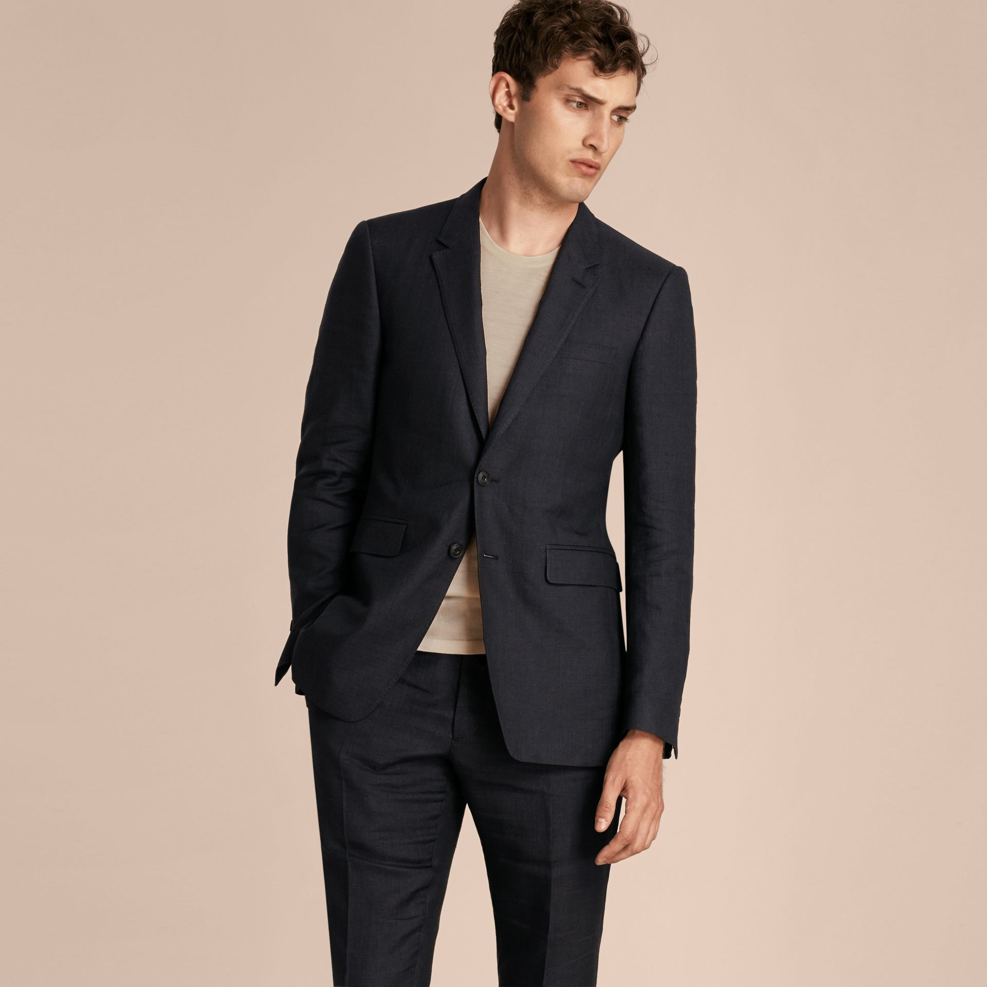 Dark navy Modern Fit Linen Wool Silk Jacket - gallery image 7