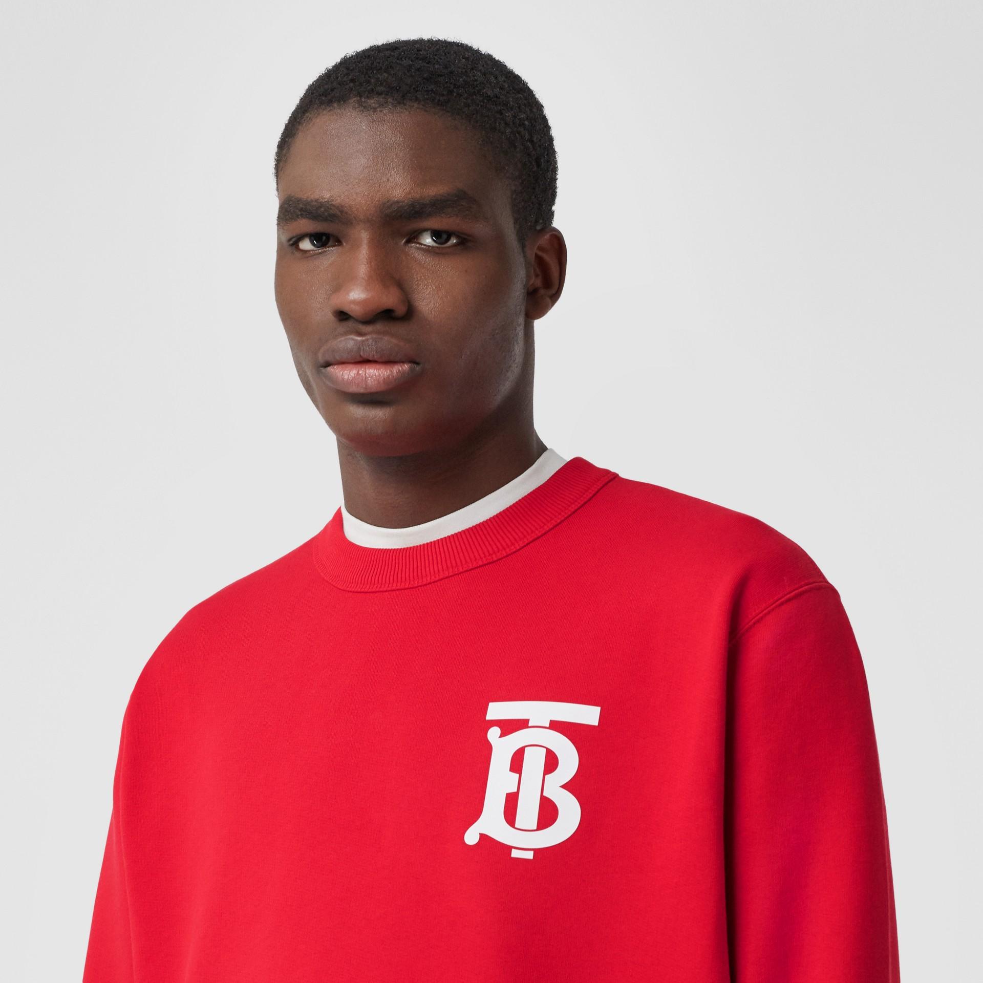 Monogram Motif Cotton Sweatshirt in Bright Red - Men | Burberry United Kingdom - gallery image 1