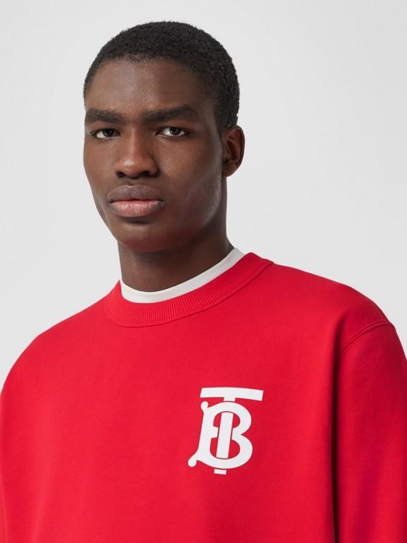 Monogram Motif Cotton Sweatshirt in Bright Red - Men | Burberry United Kingdom - cell image 1