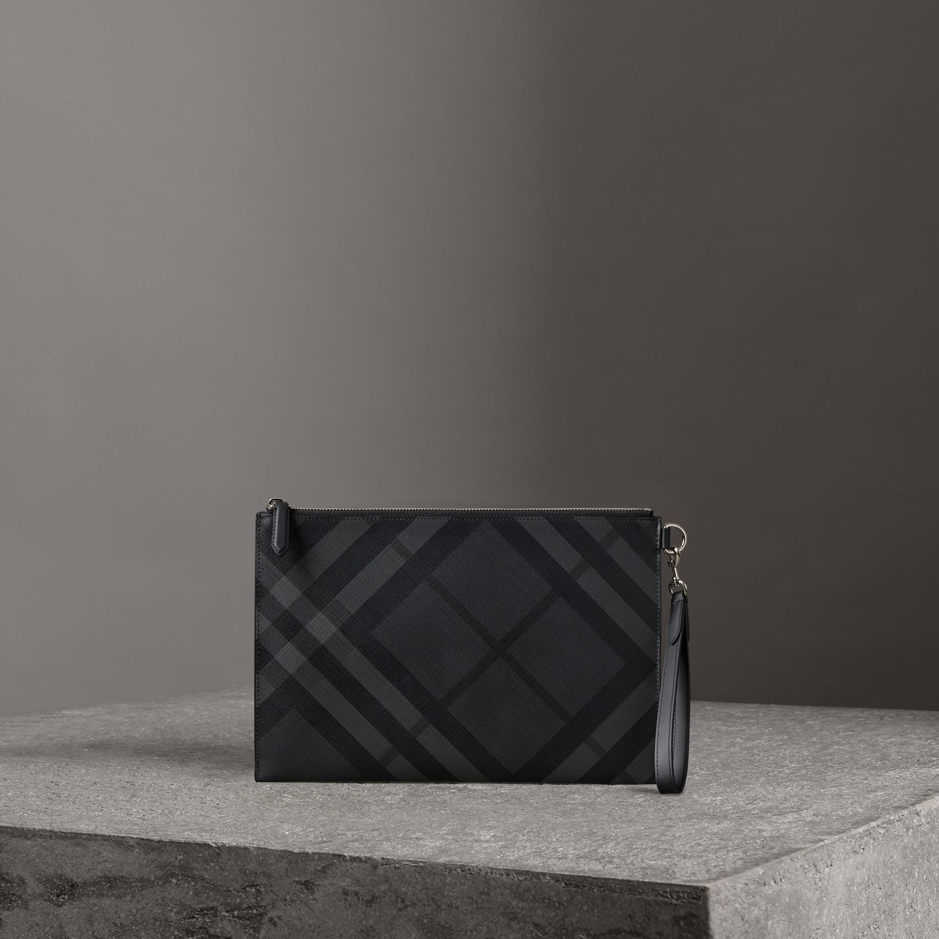 London Check Zip Pouch in Charcoal/black | Burberry Canada - gallery image 0