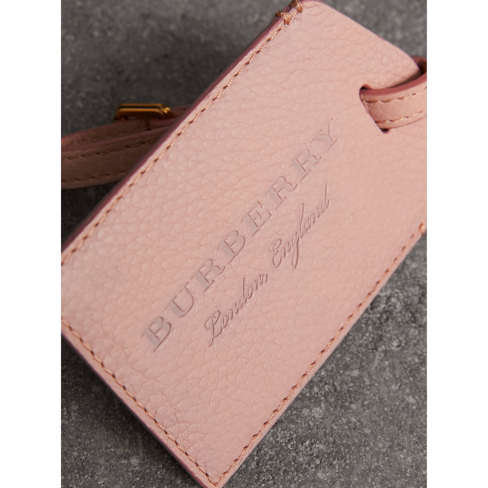 Grainy Leather Luggage Tag in Pale Ash Rose | Burberry - gallery image 1