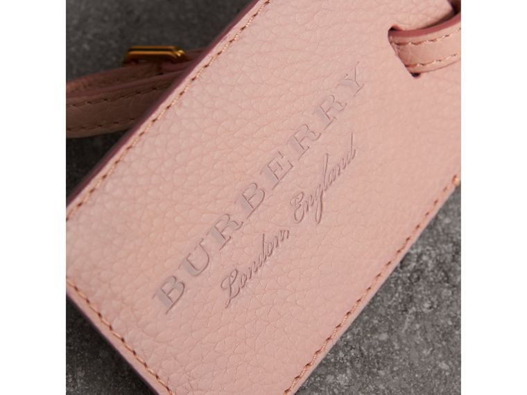 Grainy Leather Luggage Tag in Pale Ash Rose | Burberry - cell image 1