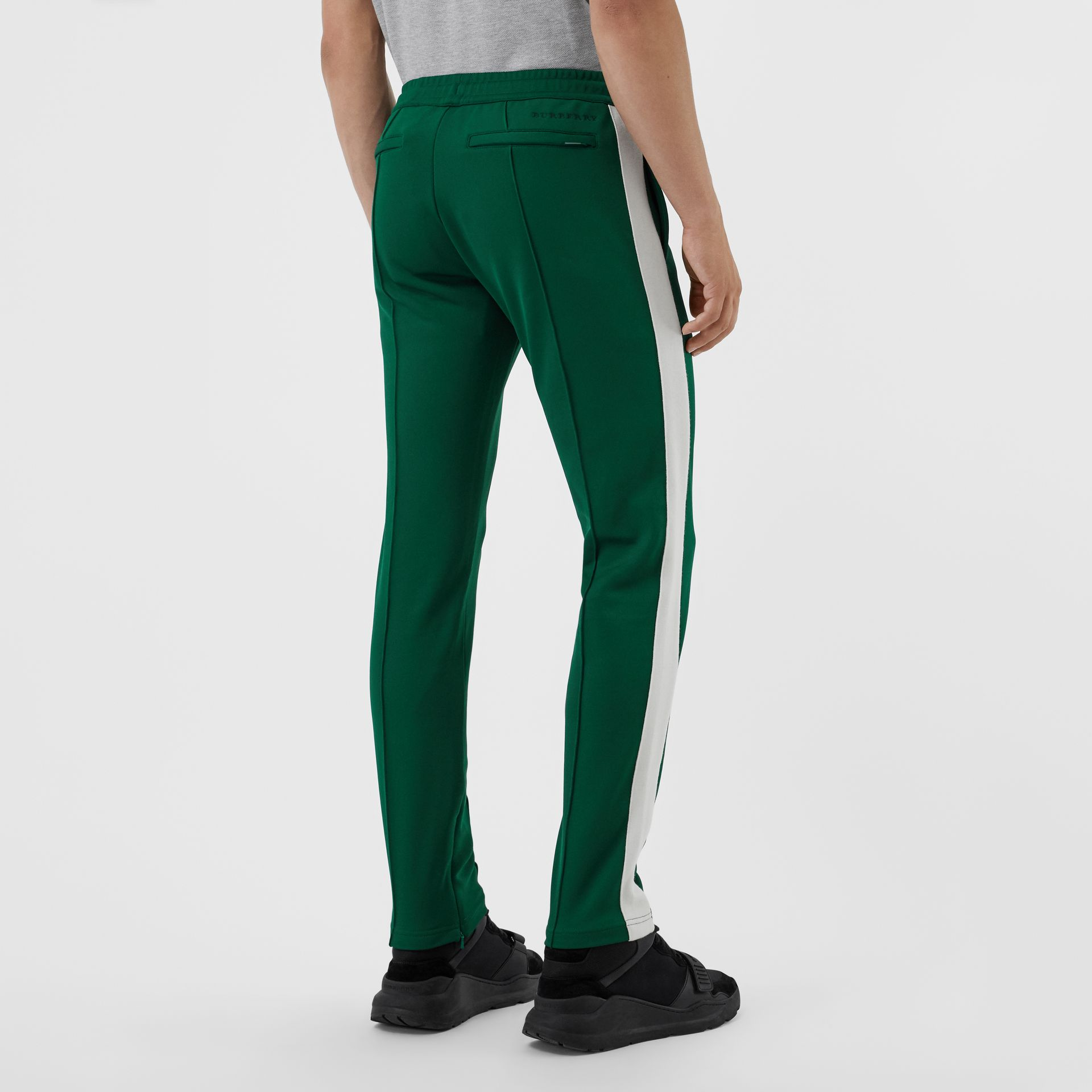 Sport Stripe Cotton Blend Drawcord Trousers in Opal Green - Men | Burberry Singapore - gallery image 2