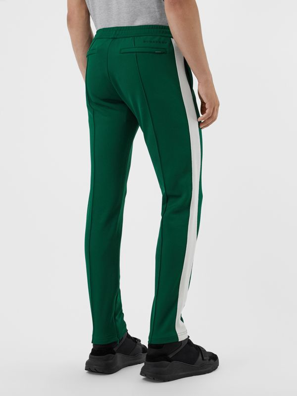 Sport Stripe Cotton Blend Drawcord Trousers in Opal Green - Men | Burberry Singapore - cell image 2