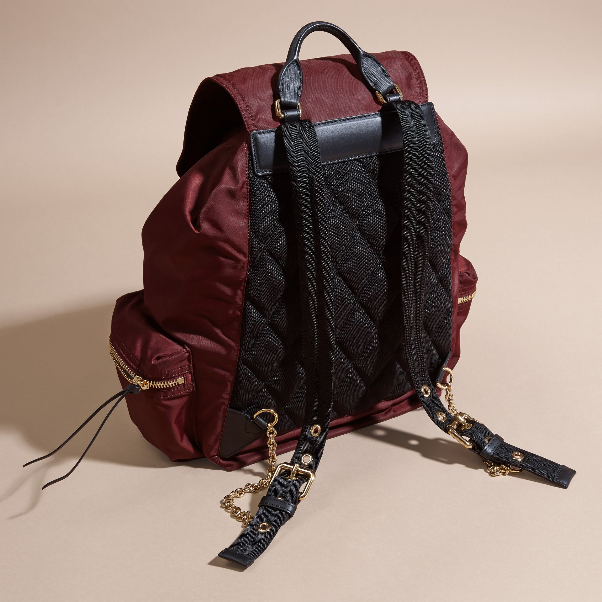The Large Rucksack in Technical Nylon and Leather in Burgundy Red - gallery image 4