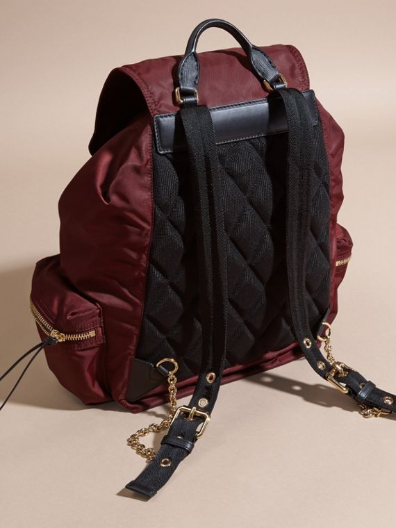 The Large Rucksack in Technical Nylon and Leather Burgundy Red - cell image 3