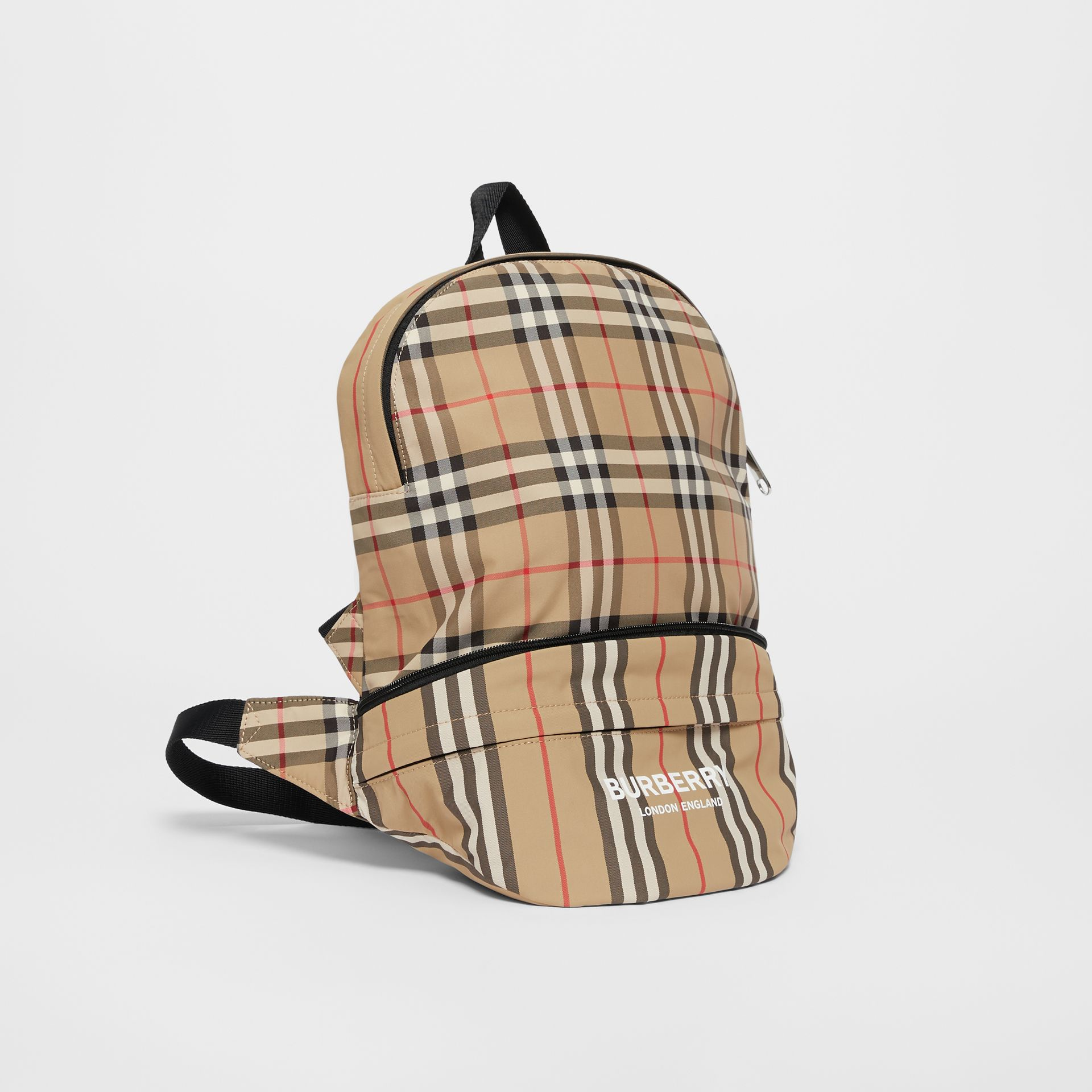 Vintage Check and Icon Stripe Convertible Bum Bag in Archive Beige - Children | Burberry - gallery image 4