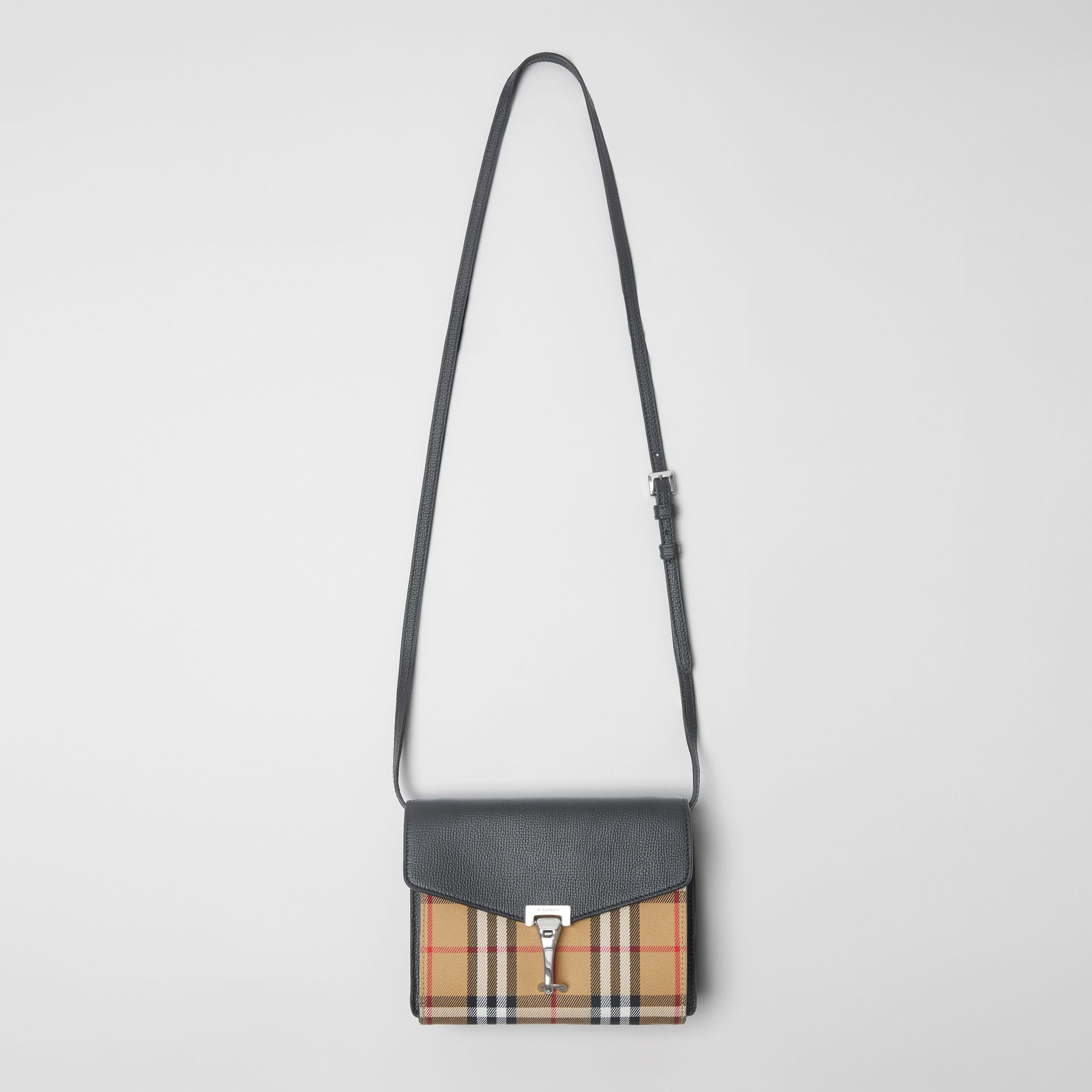 Mini Leather and Vintage Check Crossbody Bag in Black - Women | Burberry - gallery image 2