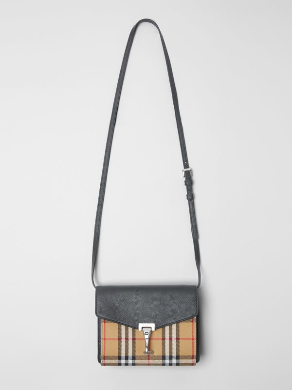 Mini Leather and Vintage Check Crossbody Bag in Black - Women | Burberry - cell image 2