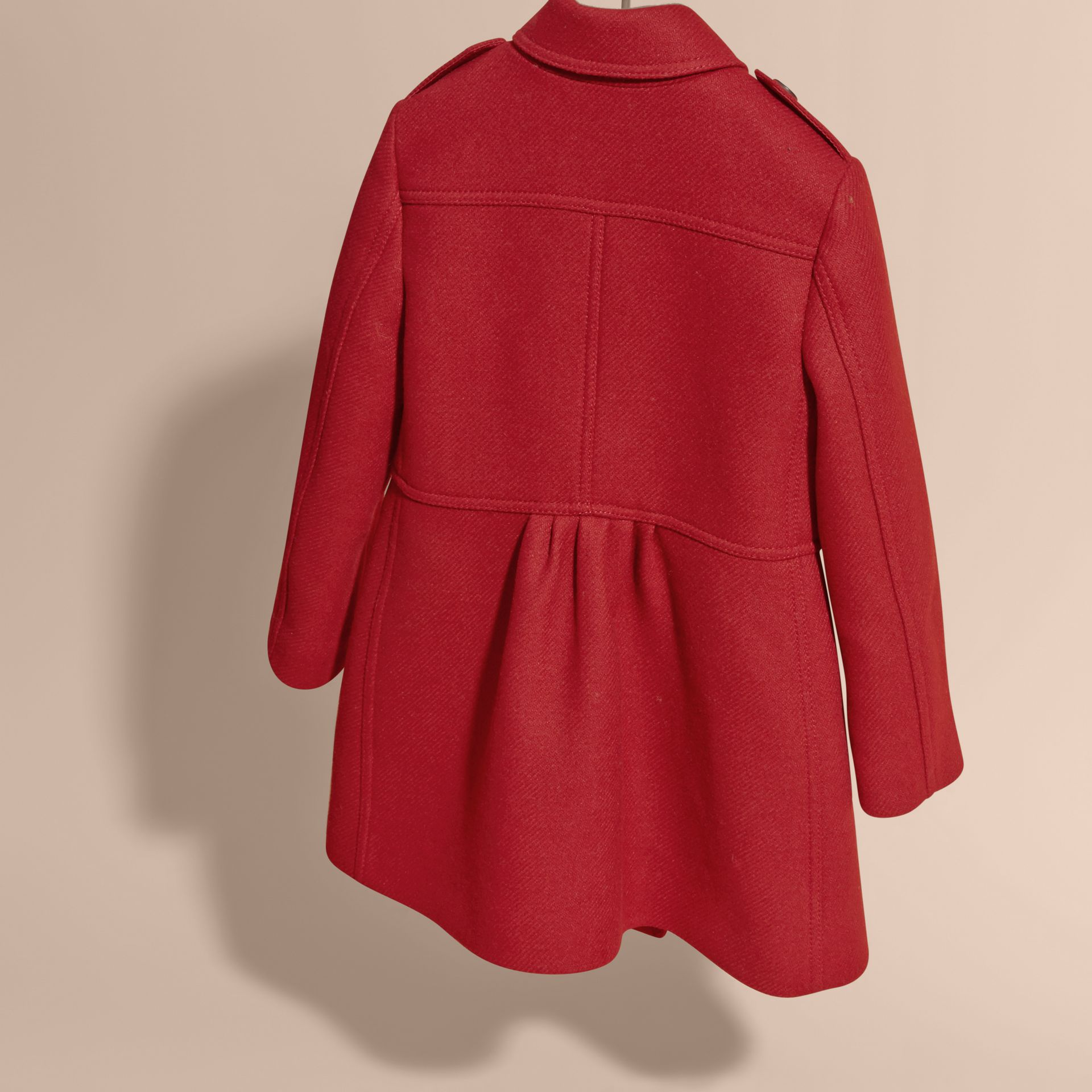 Damson red Tailored Wool Cashmere Blend Coat - gallery image 4