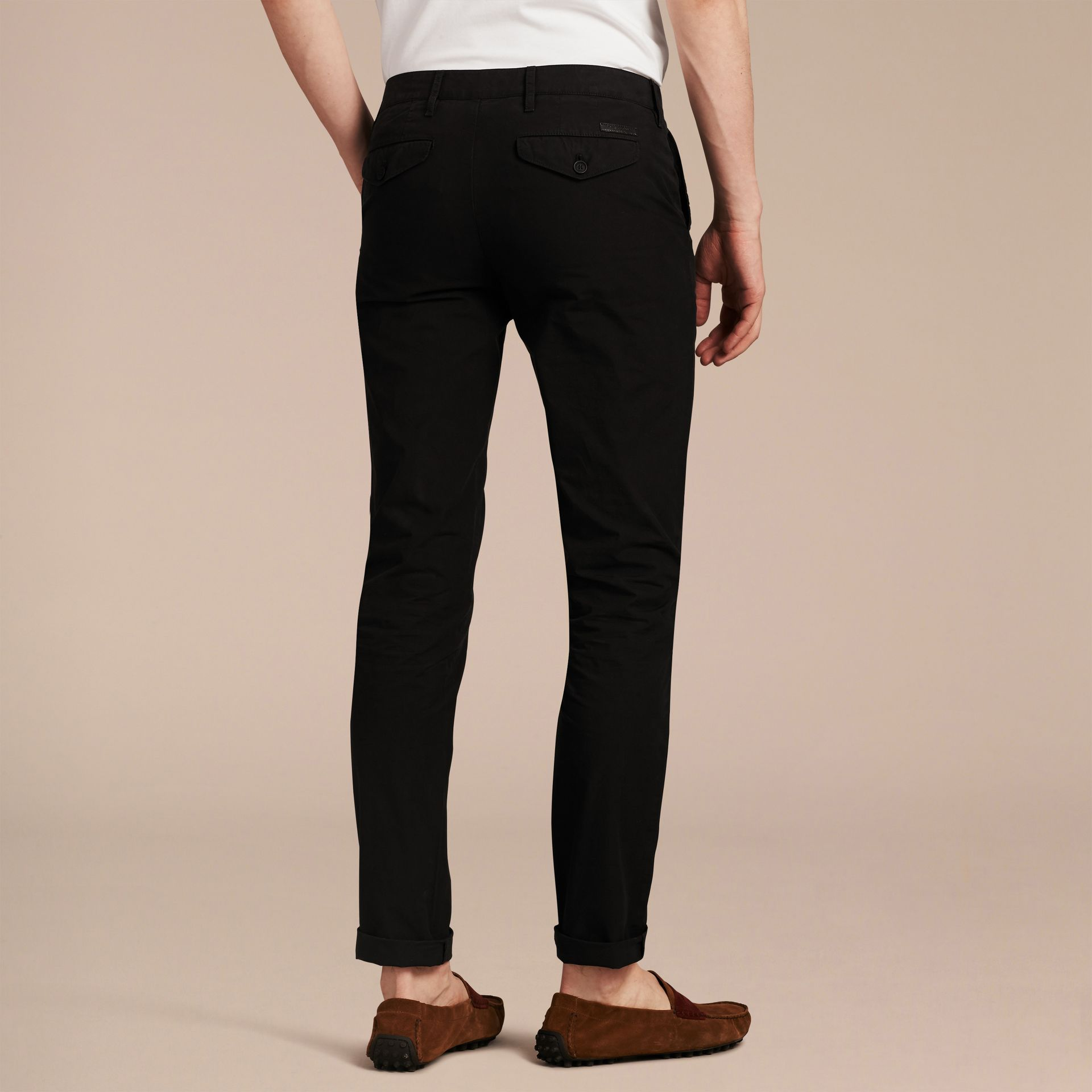 Slim Fit Cotton Poplin Chinos in Black - Men | Burberry - gallery image 3