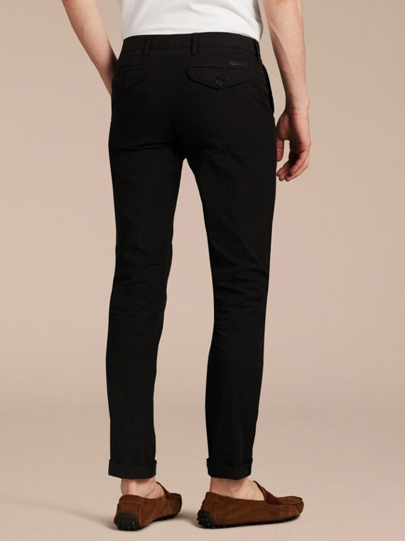 Slim Fit Cotton Poplin Chinos in Black - Men | Burberry Singapore - cell image 2