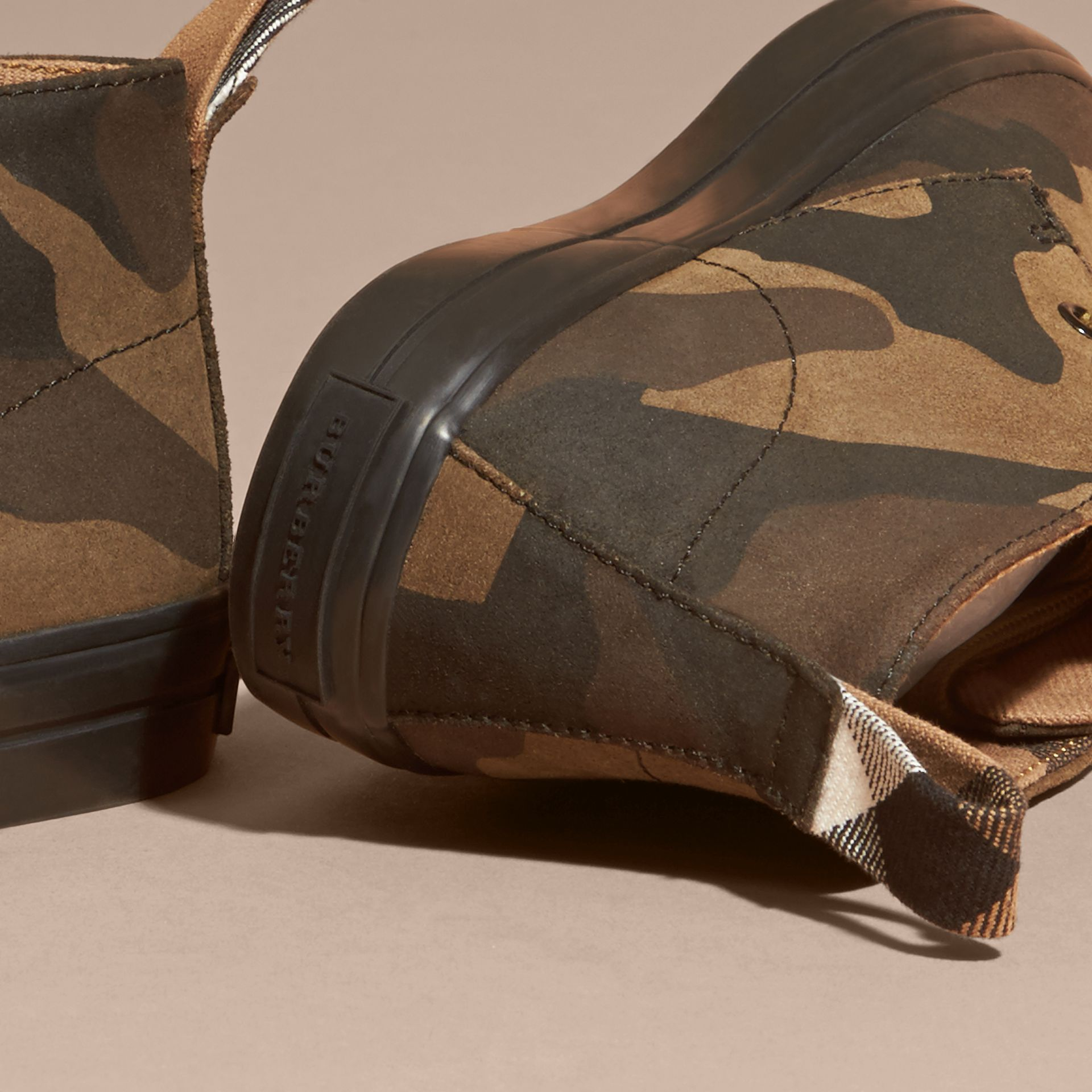 Dark green ochre Camouflage Print Suede Lace-up Desert Boots - gallery image 3
