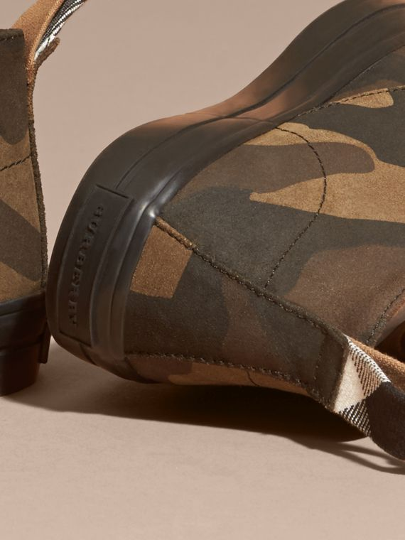 Dark green ochre Camouflage Print Suede Lace-up Desert Boots - cell image 2