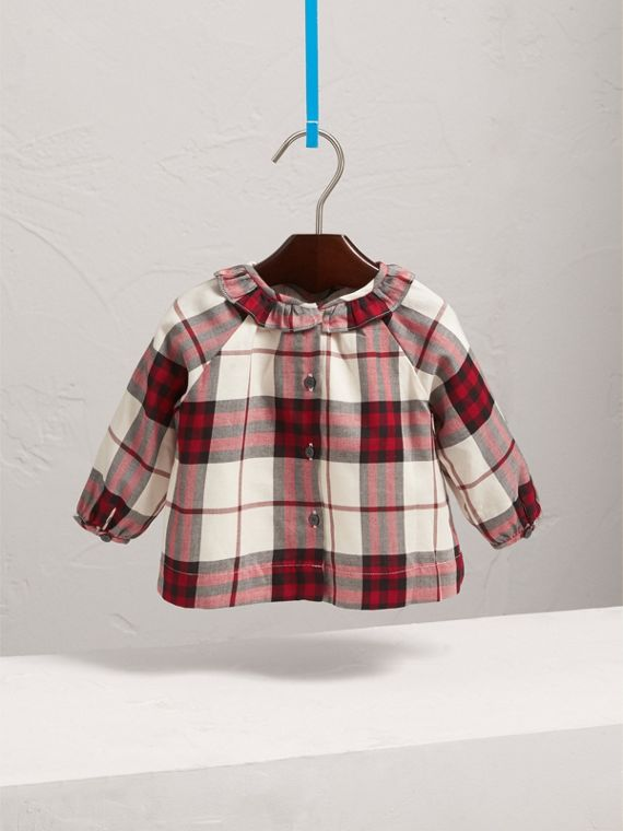 Ruffle Collar Check Cotton Flannel Top in Crimson Red | Burberry - cell image 3