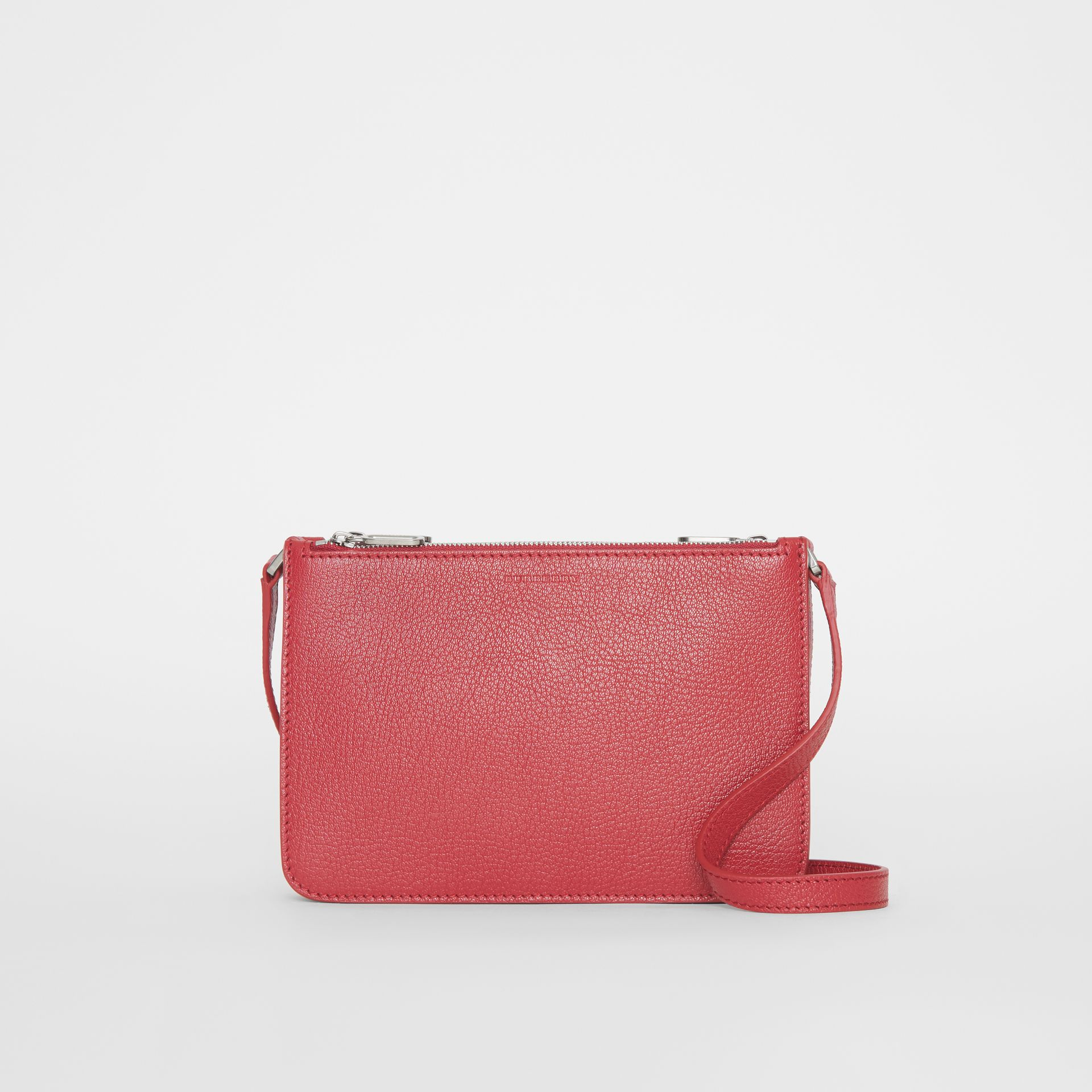 Triple Zip Grainy Leather Crossbody Bag in Crimson - Women | Burberry - gallery image 0