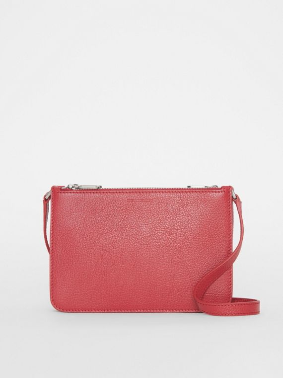 Triple Zip Grainy Leather Crossbody Bag in Crimson