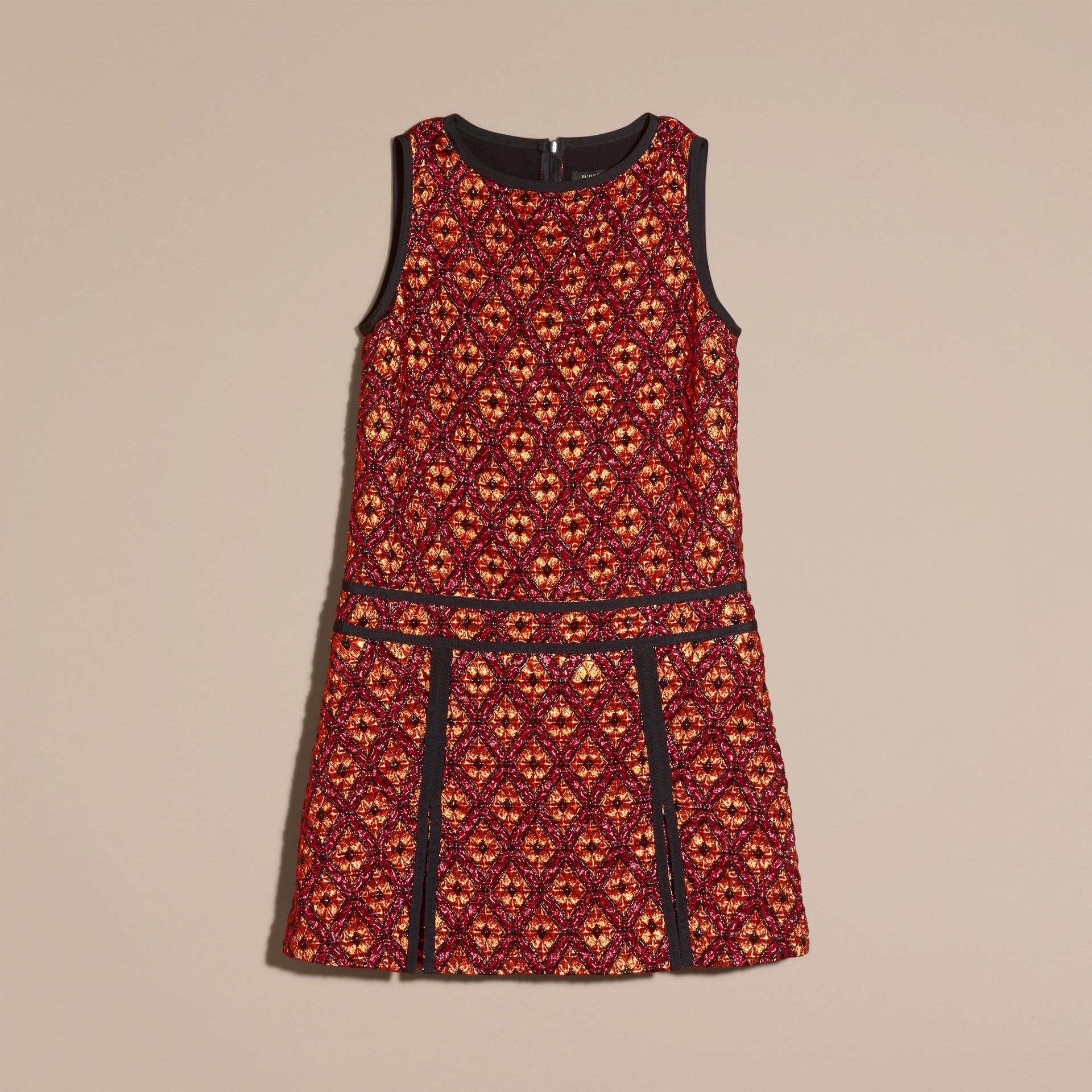 Cinnamon red Diamond Jacquard Sleeveless Dress - gallery image 4
