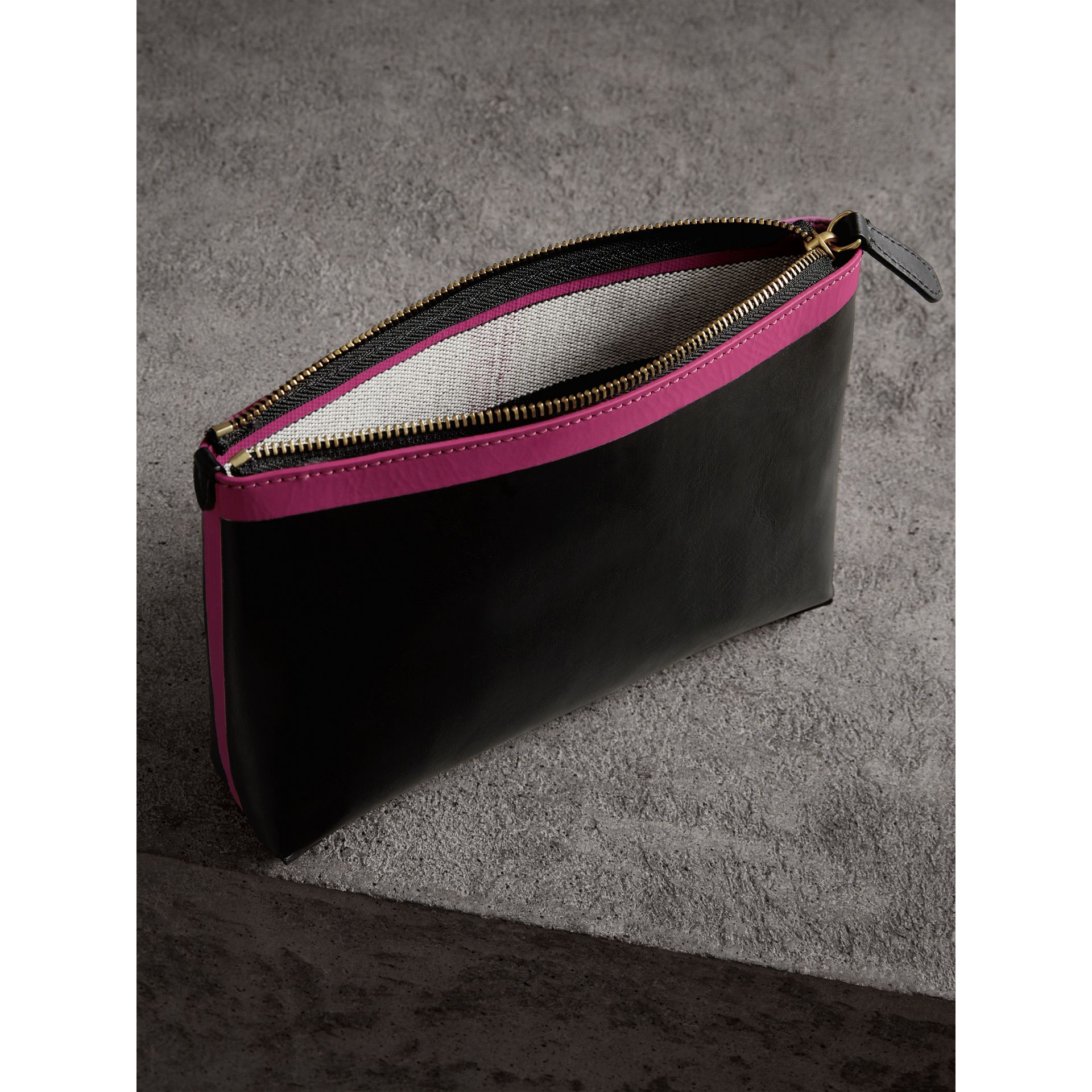 Bonded Leather Zip Pouch in Black/neon Pink - Women | Burberry United States - gallery image 5