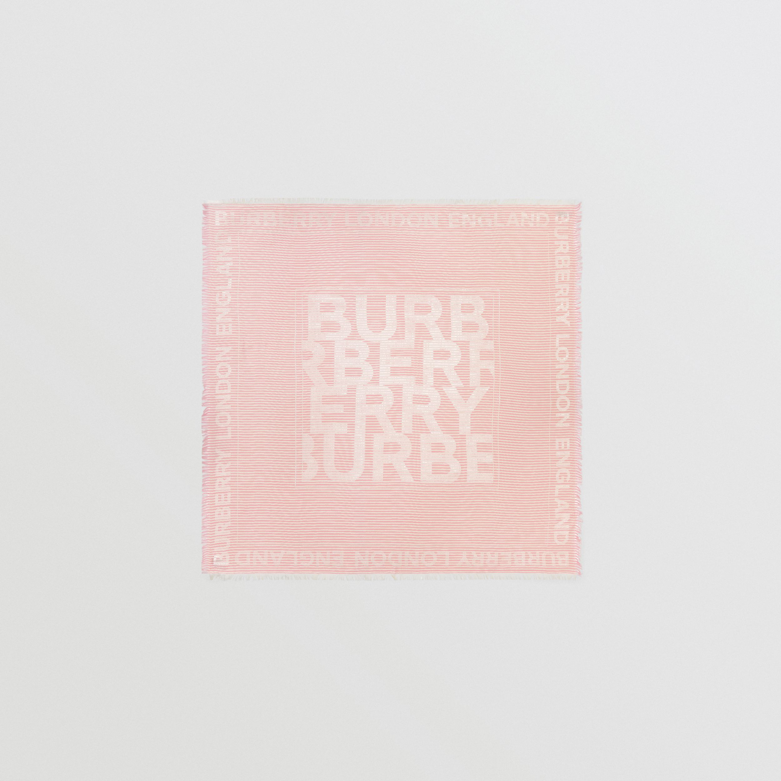 Striped Logo Silk Wool Jacquard Large Square Scarf in Peony Pink | Burberry - 1