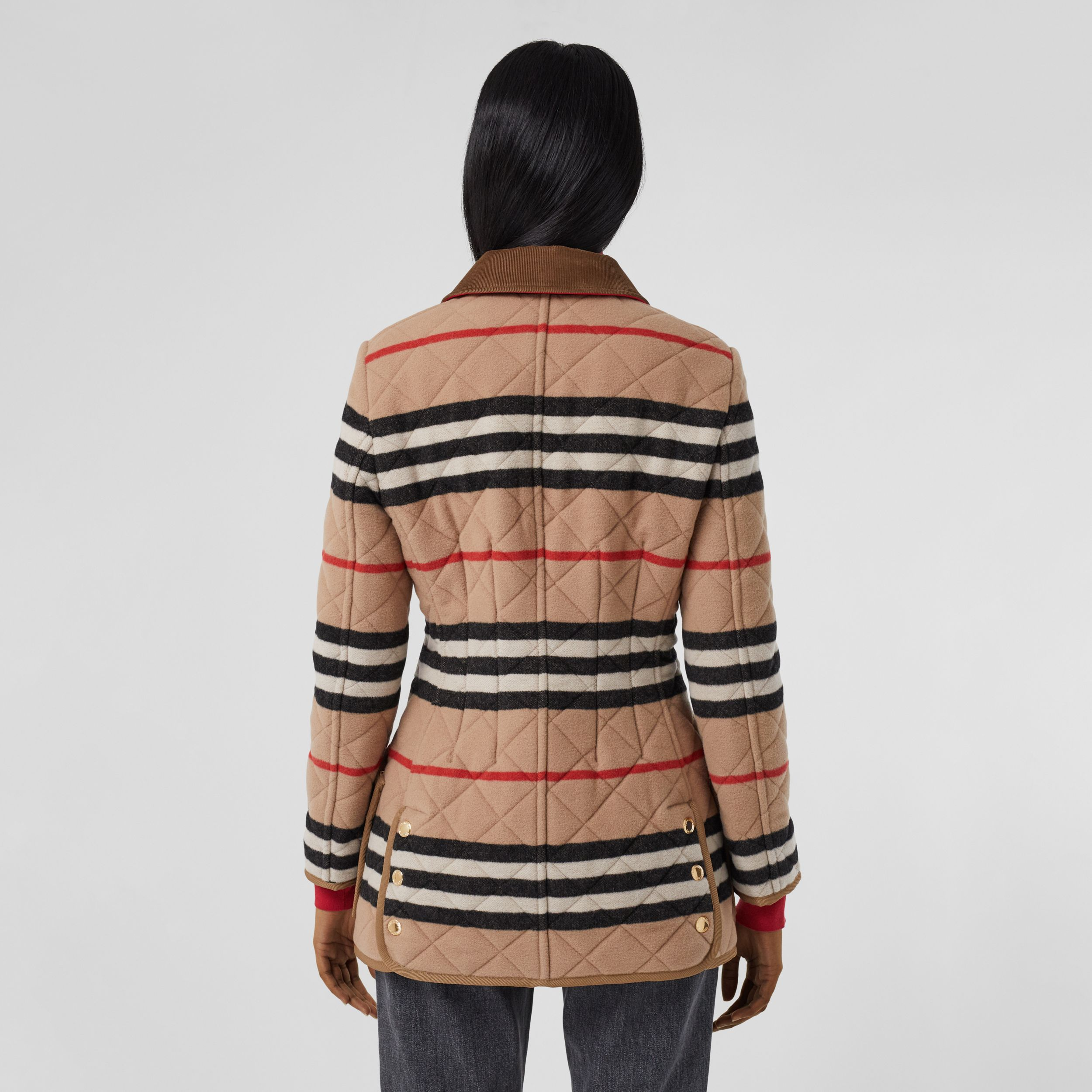 Icon Stripe Diamond Quilted Wool Riding Jacket in Light Camel - Women | Burberry - 3