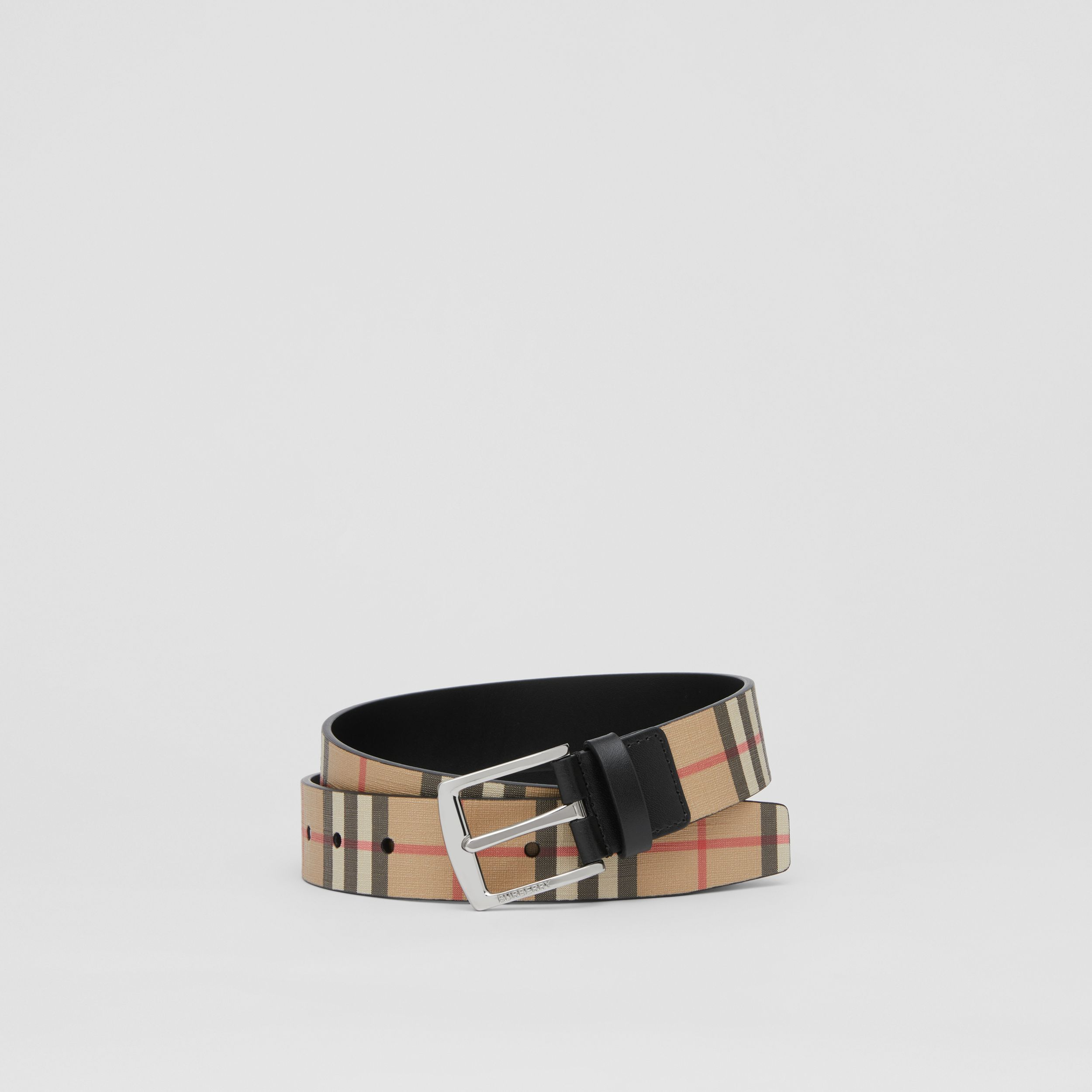 Vintage Check E-canvas and Leather Belt in Archive Beige - Men | Burberry - 1