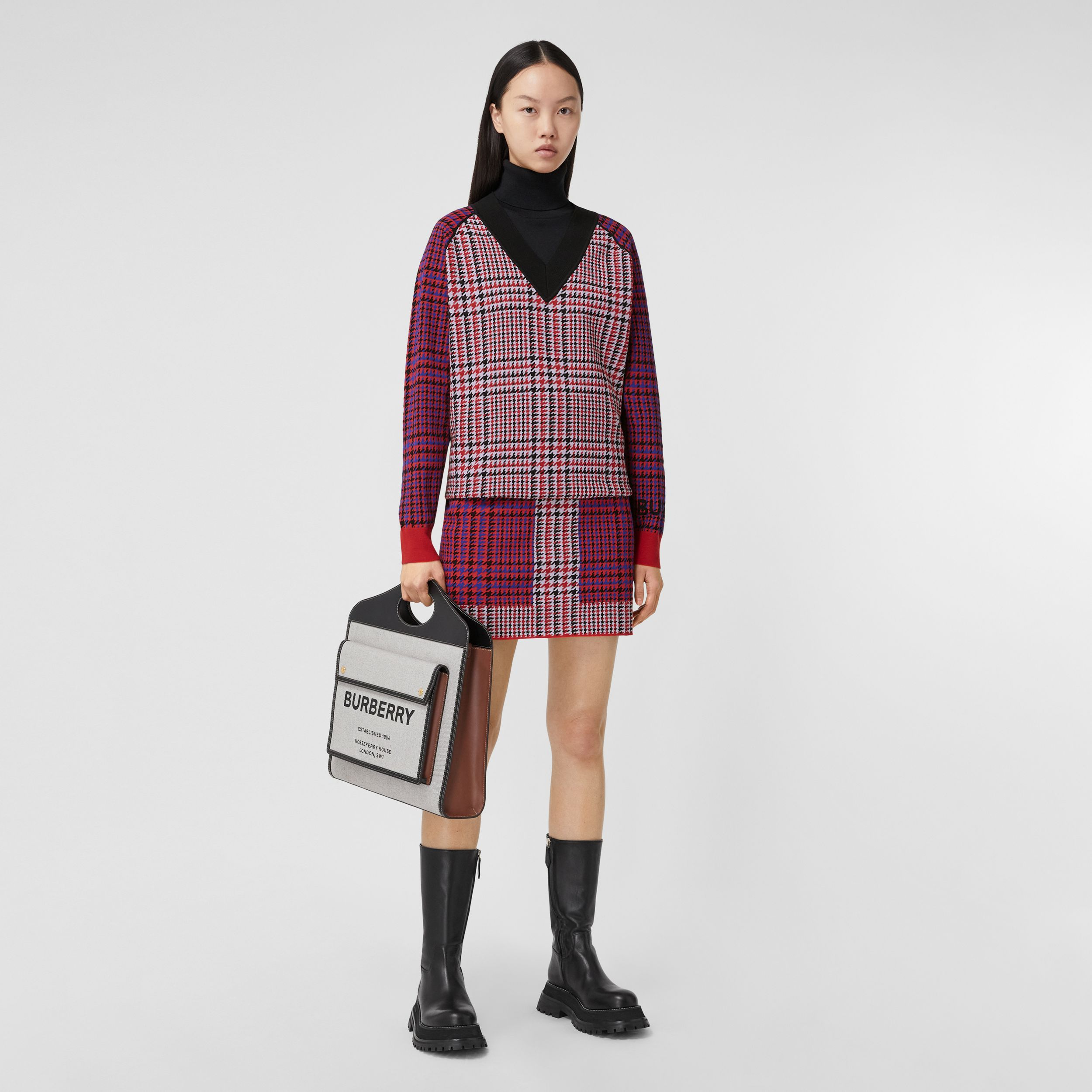 Houndstooth Check Technical Merino Wool Sweater in Bright Red - Women | Burberry Hong Kong S.A.R. - 1