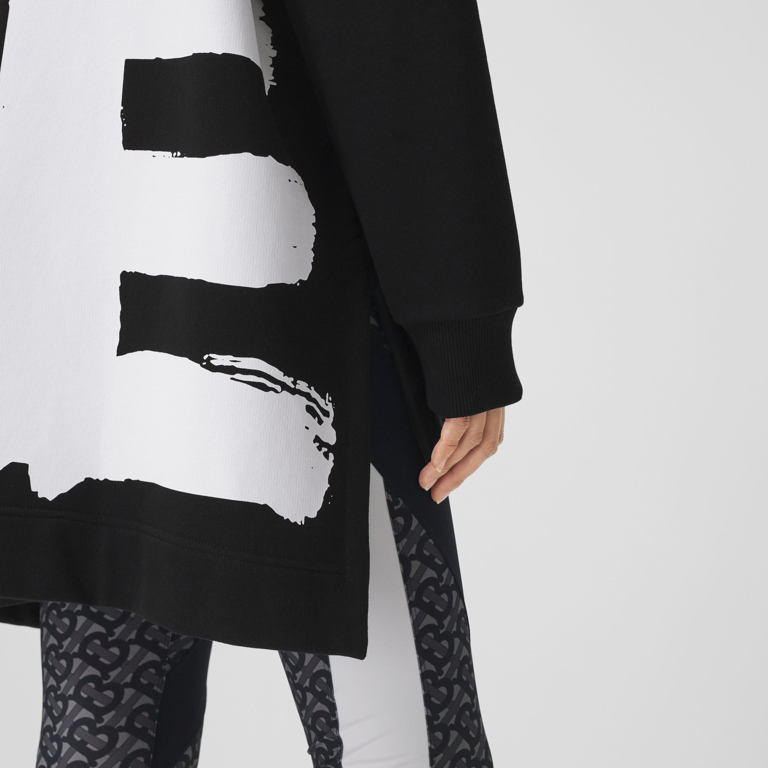 Love Print Cotton Oversized Hoodie in Black - Women | Burberry - 2