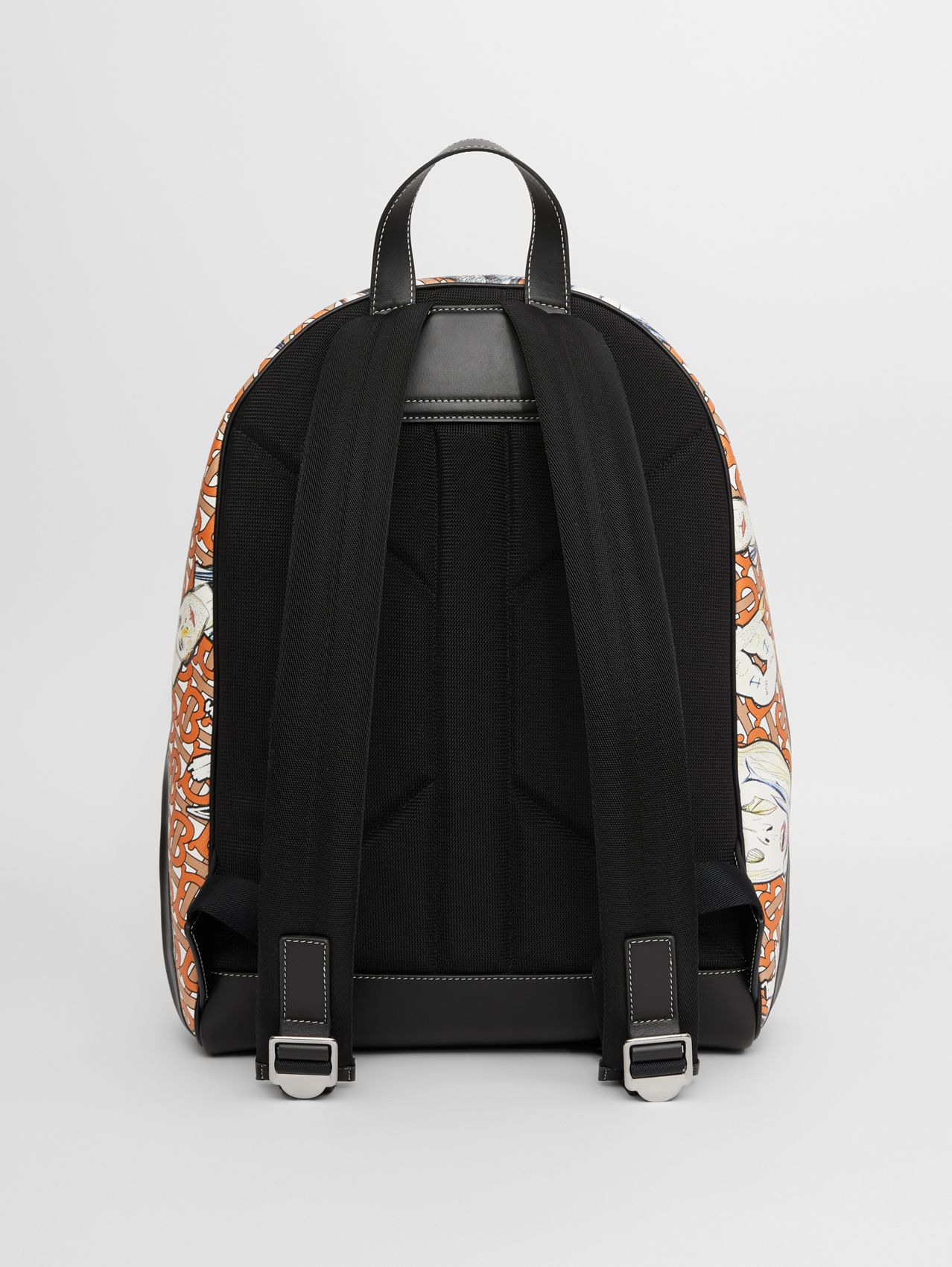 Monogram and Marine Print E-canvas Backpack in Deep Orange