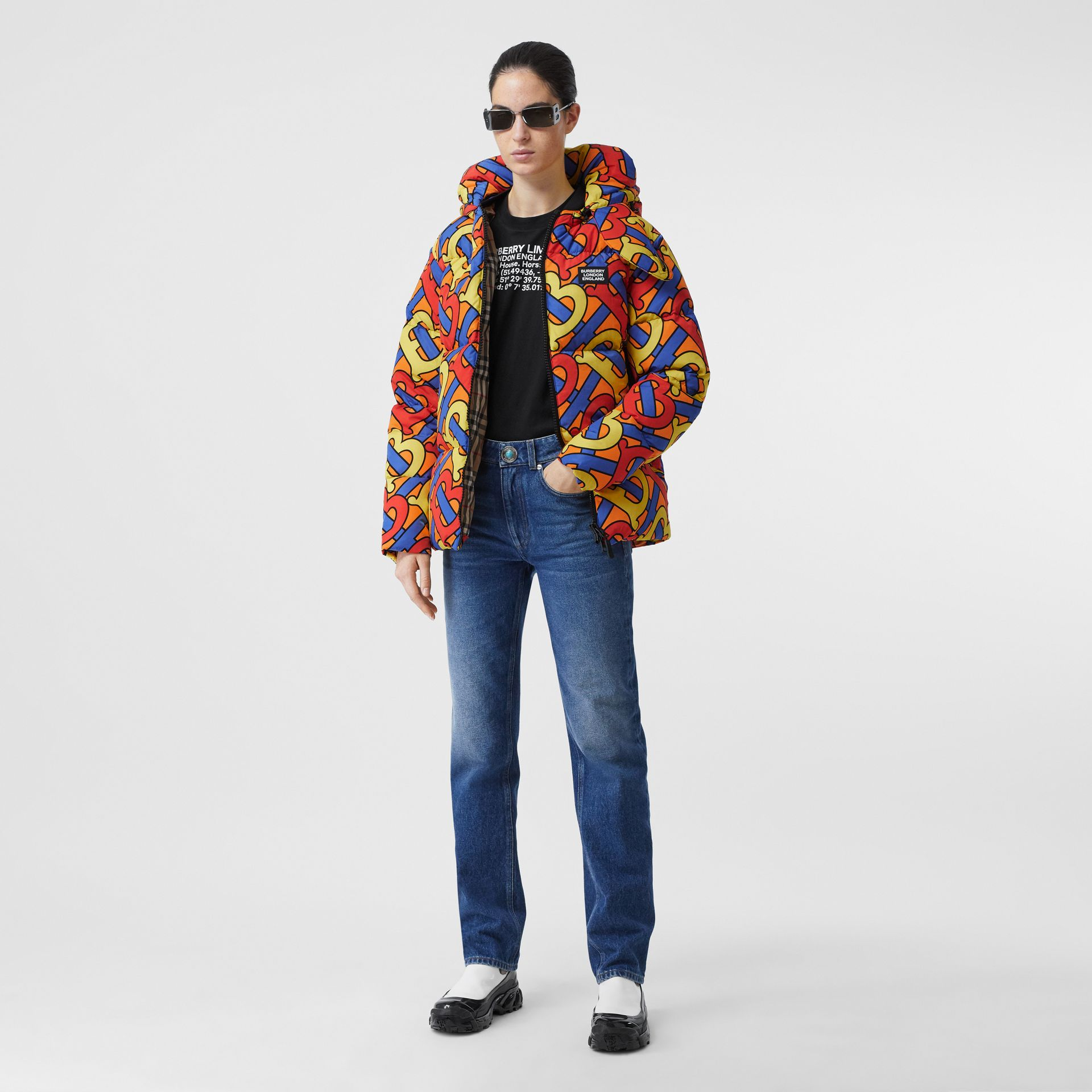 Monogram Print Puffer Jacket in Multicolour | Burberry - gallery image 2