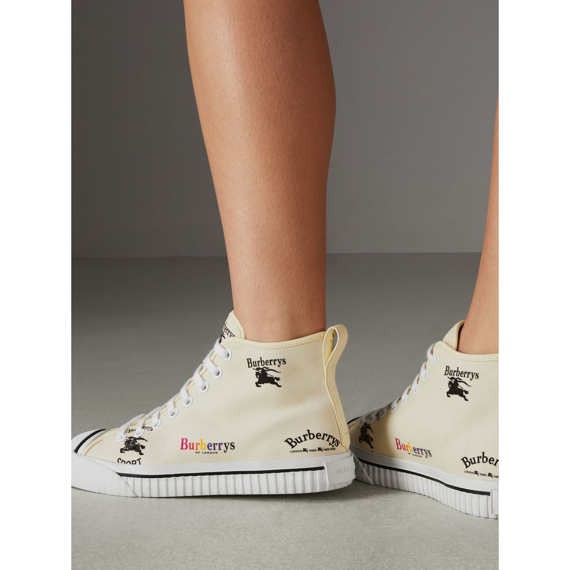 Archive Logo Cotton High-top Sneakers in Off White - Women | Burberry United States - gallery image 2